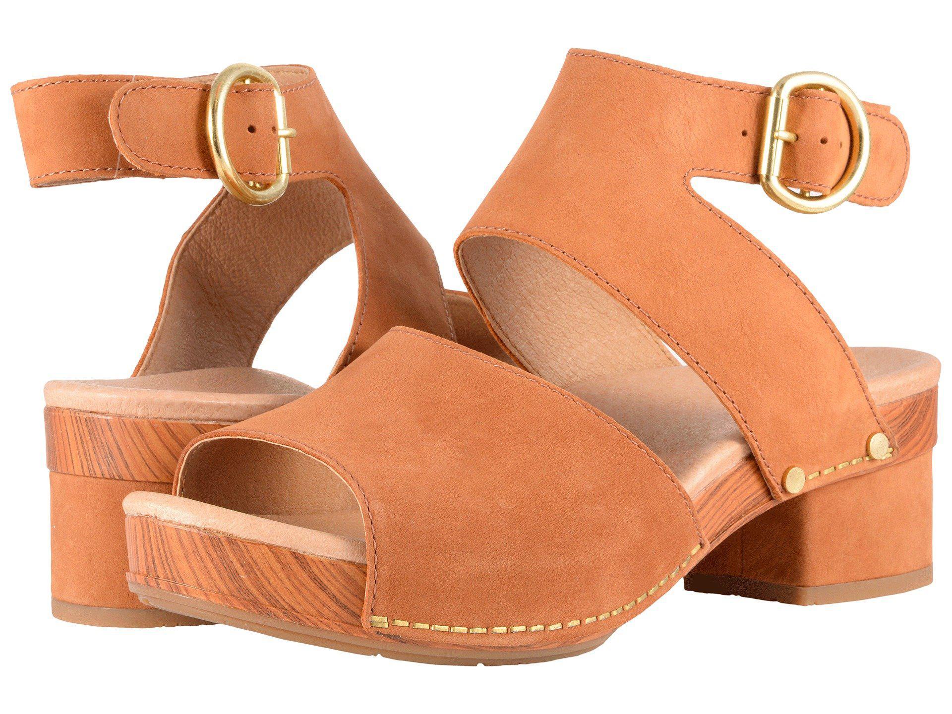e4b5bb8e720 Lyst - Dansko Minka (camel Milled Nubuck) Women s Toe Open Shoes in ...