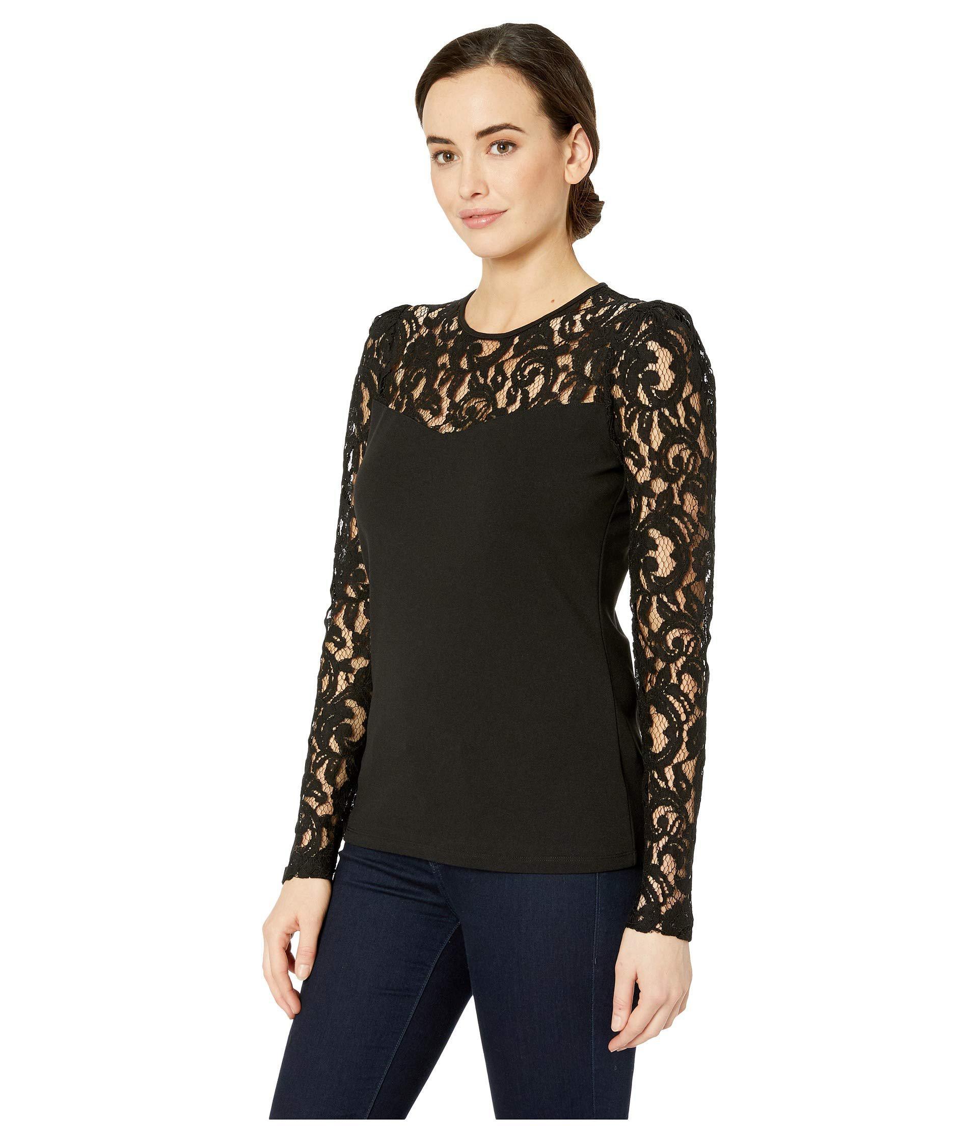 3ddf0455b9b Lyst - MICHAEL Michael Kors Lace Puff Long Sleeve Top (black) Women s  Clothing in Black - Save 41%