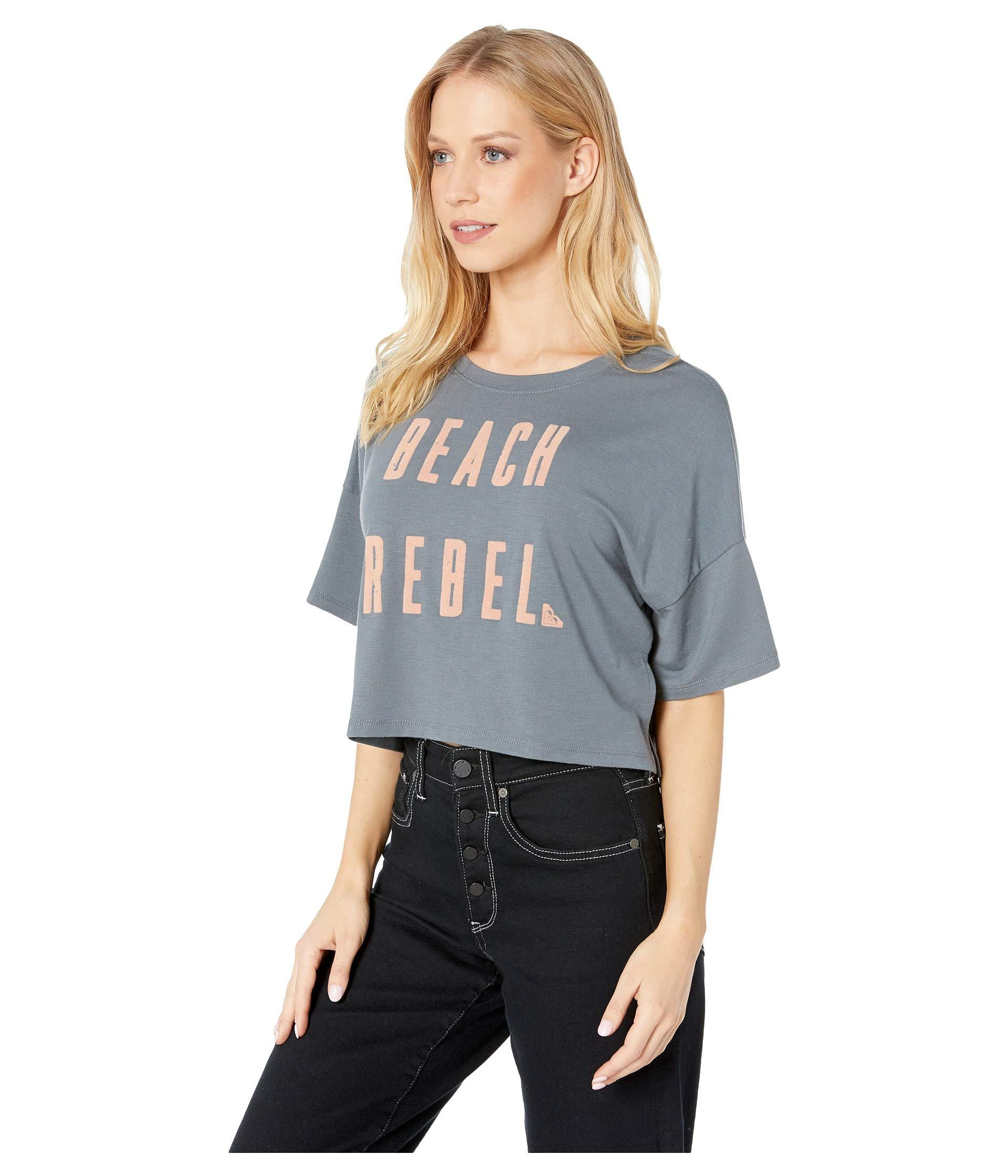 a5c240d2d Lyst - Roxy Beach Rebel Cropped T-shirt (turbulence) Women's T Shirt