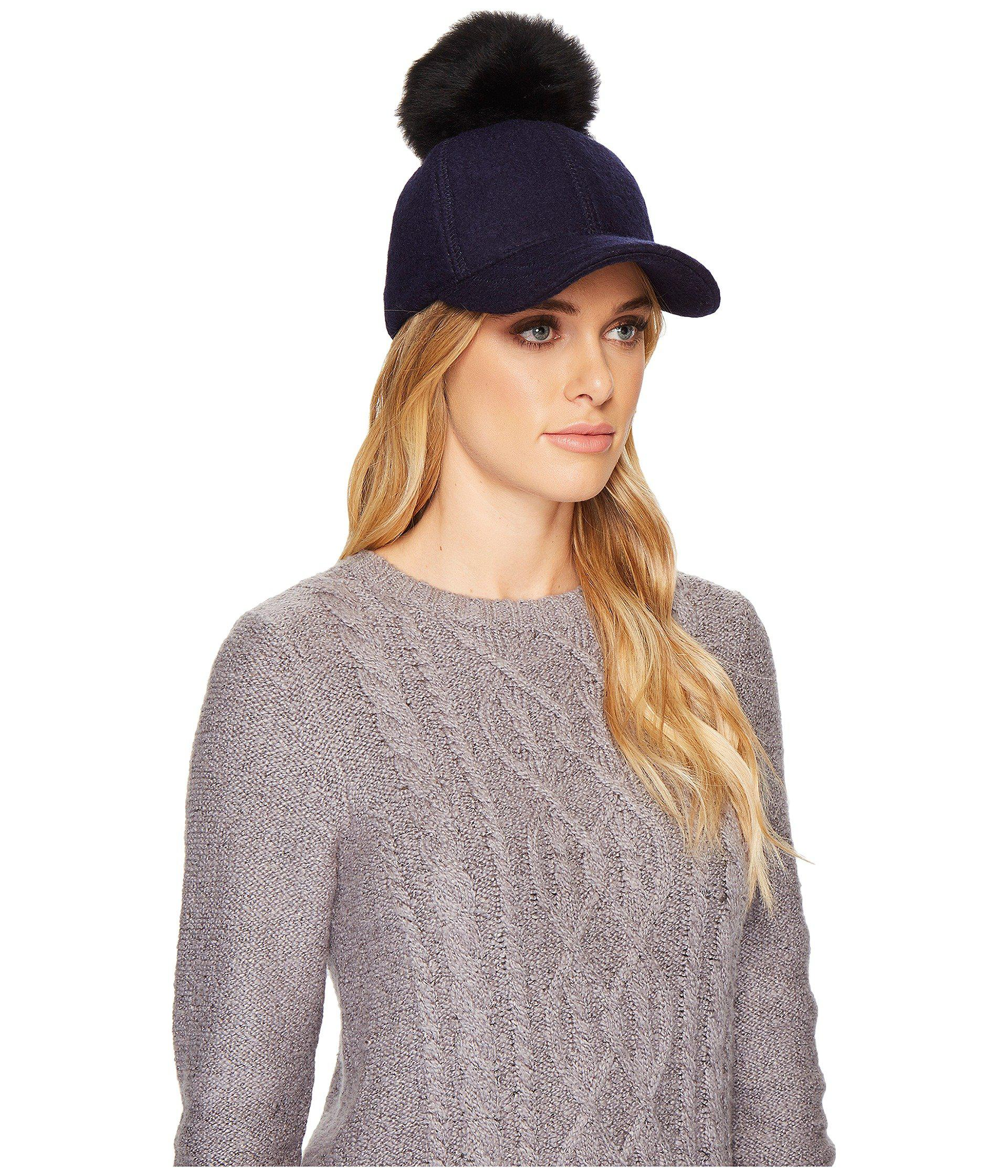 Lyst - Ugg Fabric Baseball Hat With Fur Pom in Blue 2a117286bc03