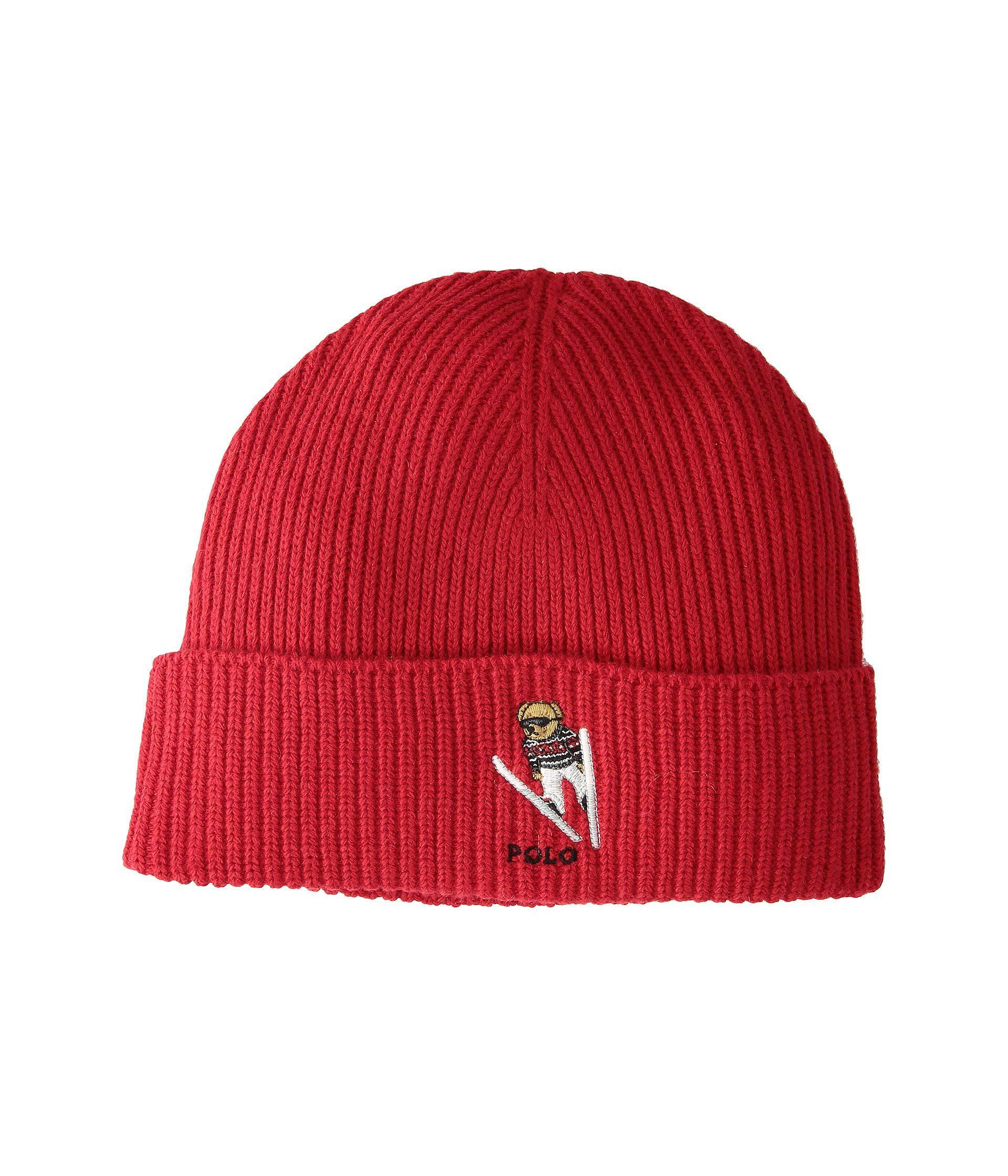 1b8d33a87a4 Lyst - Polo Ralph Lauren Skier Bear Cuff Hat (black) Beanies in Red ...