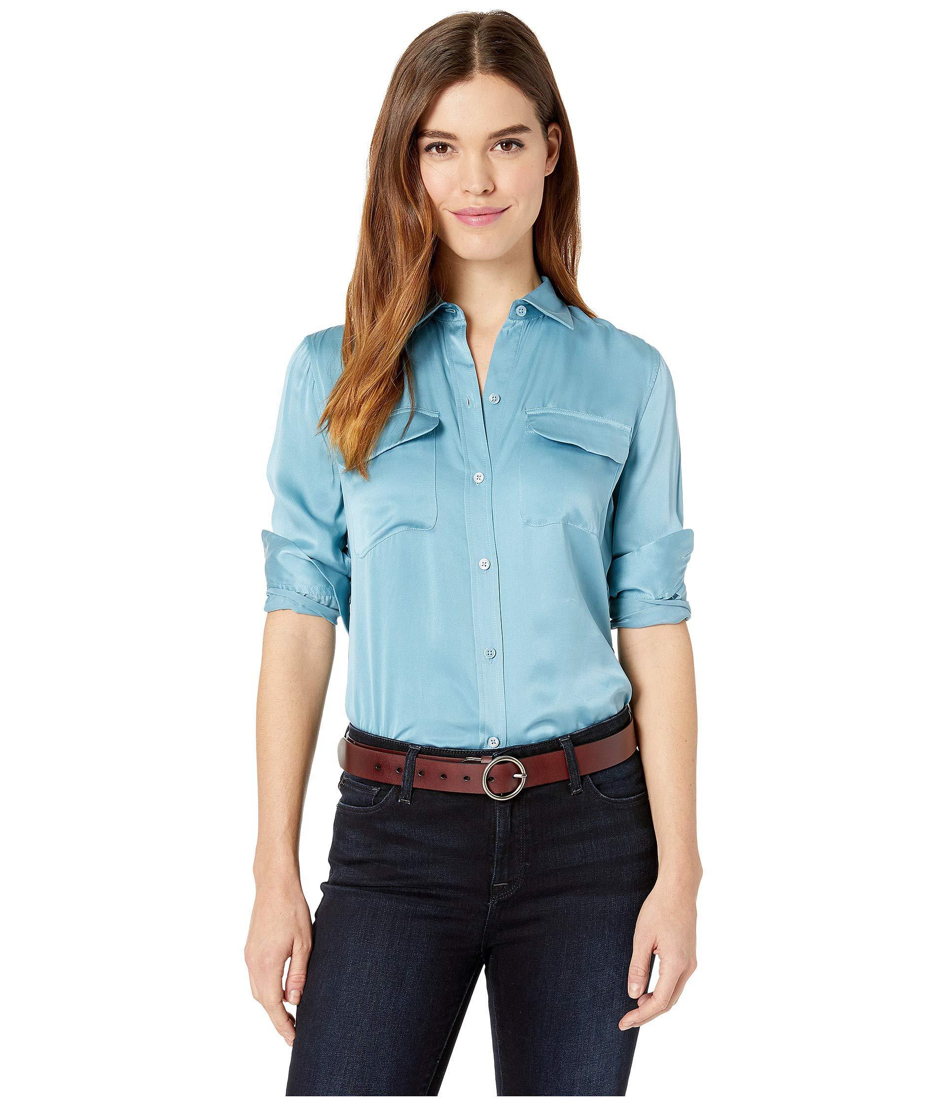 308384a15f6c8 Lyst - Equipment Slim Signature Top (bleu Fume) Women s Long Sleeve ...