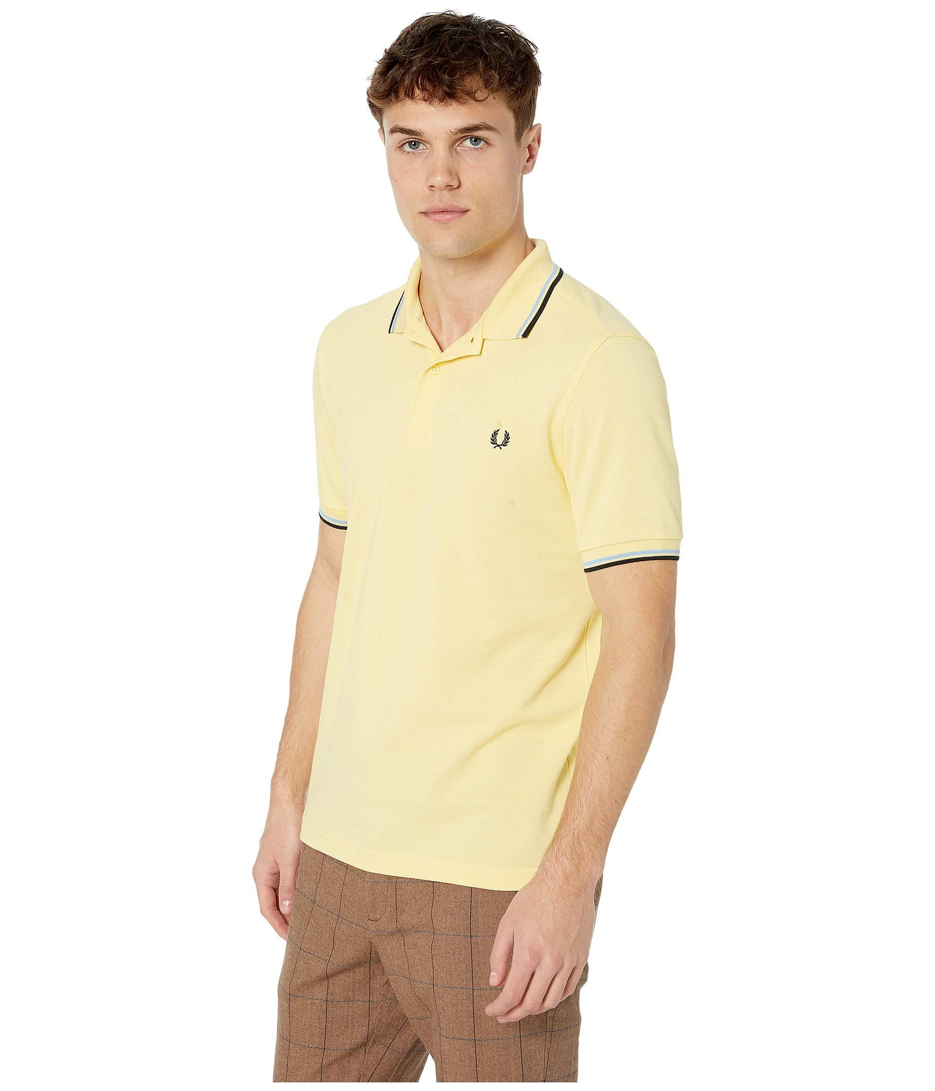 934ec51478 Lyst - Fred Perry Twin Tipped Shirt (navy white white) Men s Short Sleeve  Knit in Yellow for Men
