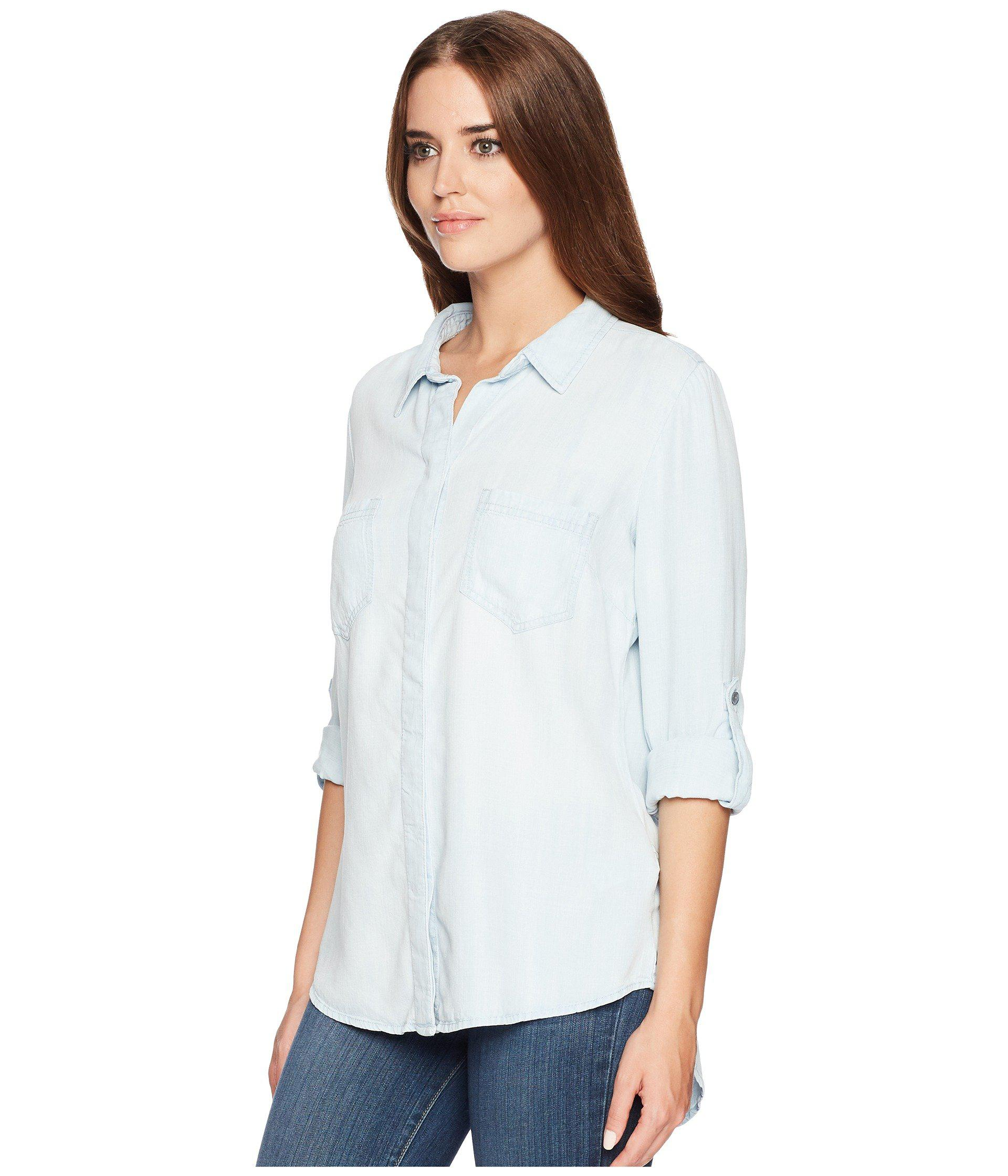f53f9e818cd Lyst - Liverpool Jeans Company Button Down Shirt (del Norte Bleach) Women s  Clothing in White
