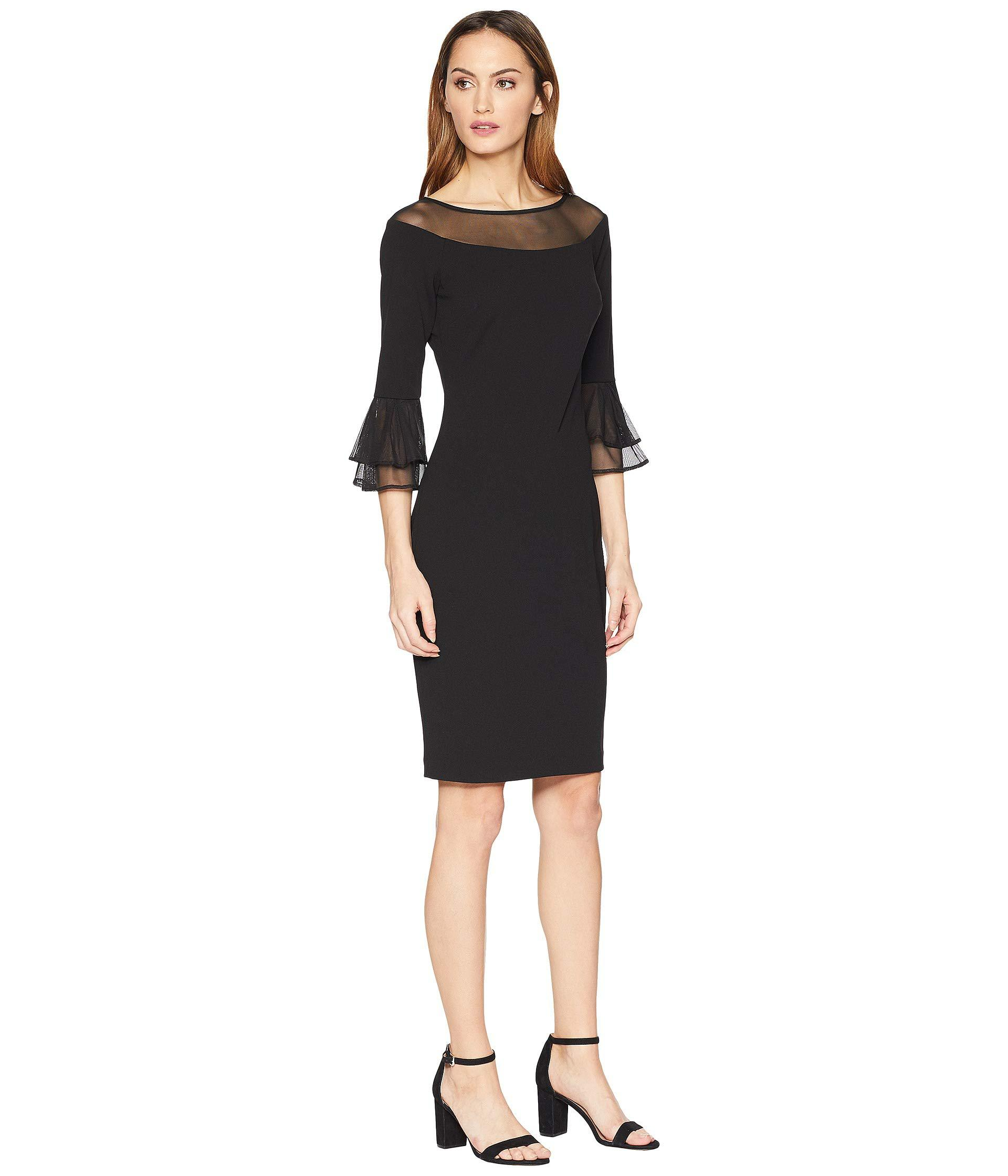 7e213e91 Calvin Klein - Sheath Dress W/ Illusion At Neck And Sleeve (black) Women's.  View fullscreen