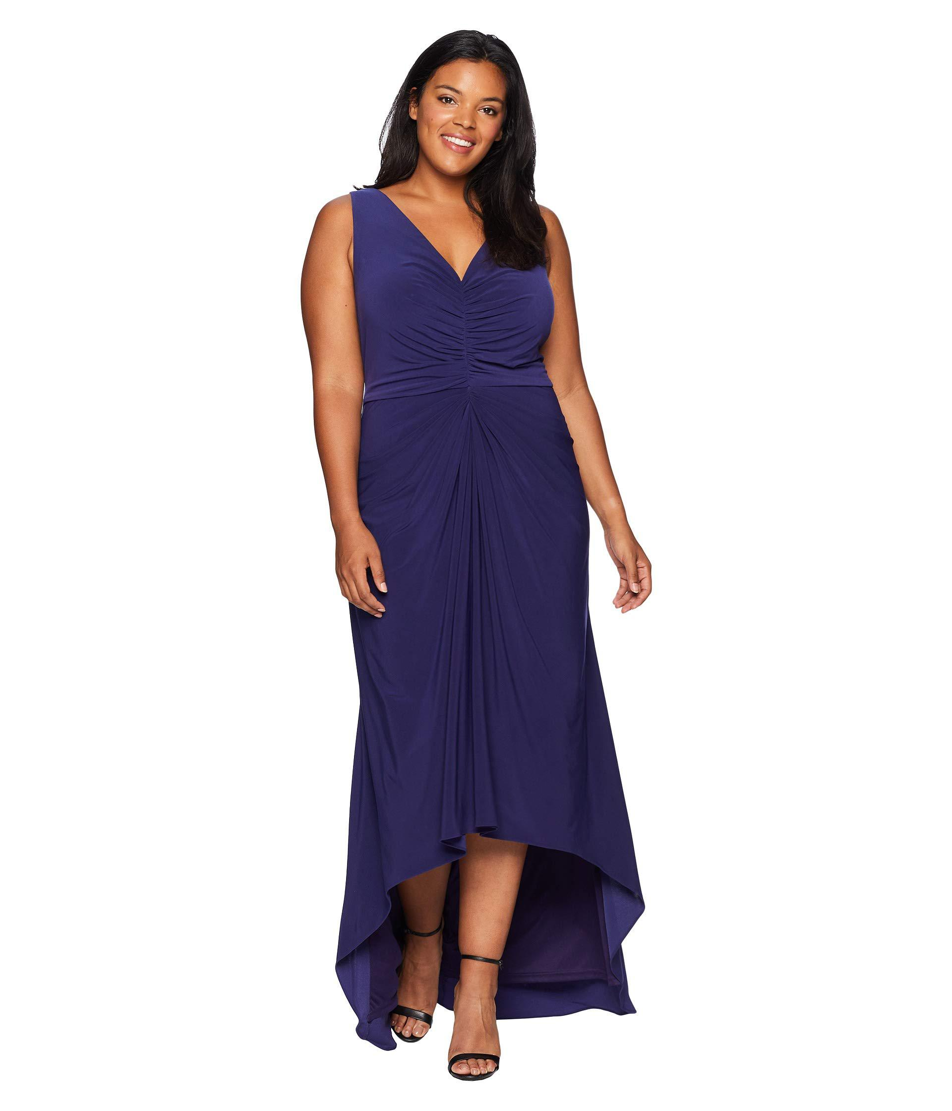 Lyst - Adrianna Papell Plus Size High-low Draped Front Jersey Gown ...