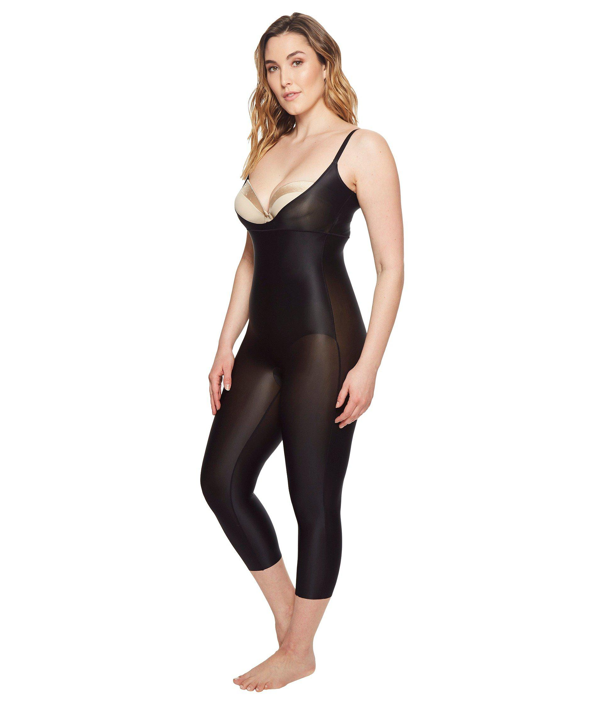 47a919517b93 Lyst - Spanx Plus Size Suit Your Fancy Open-bust Catsuit (very Black)  Women s Jumpsuit   Rompers One Piece in Black