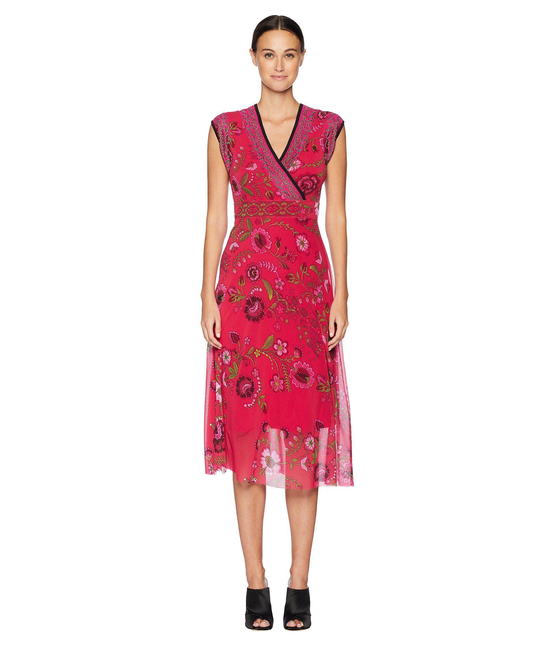 Lyst - Fuzzi Sleeveless Folk Flower Dress (petunia) Women s Dress in Red 392af28cc