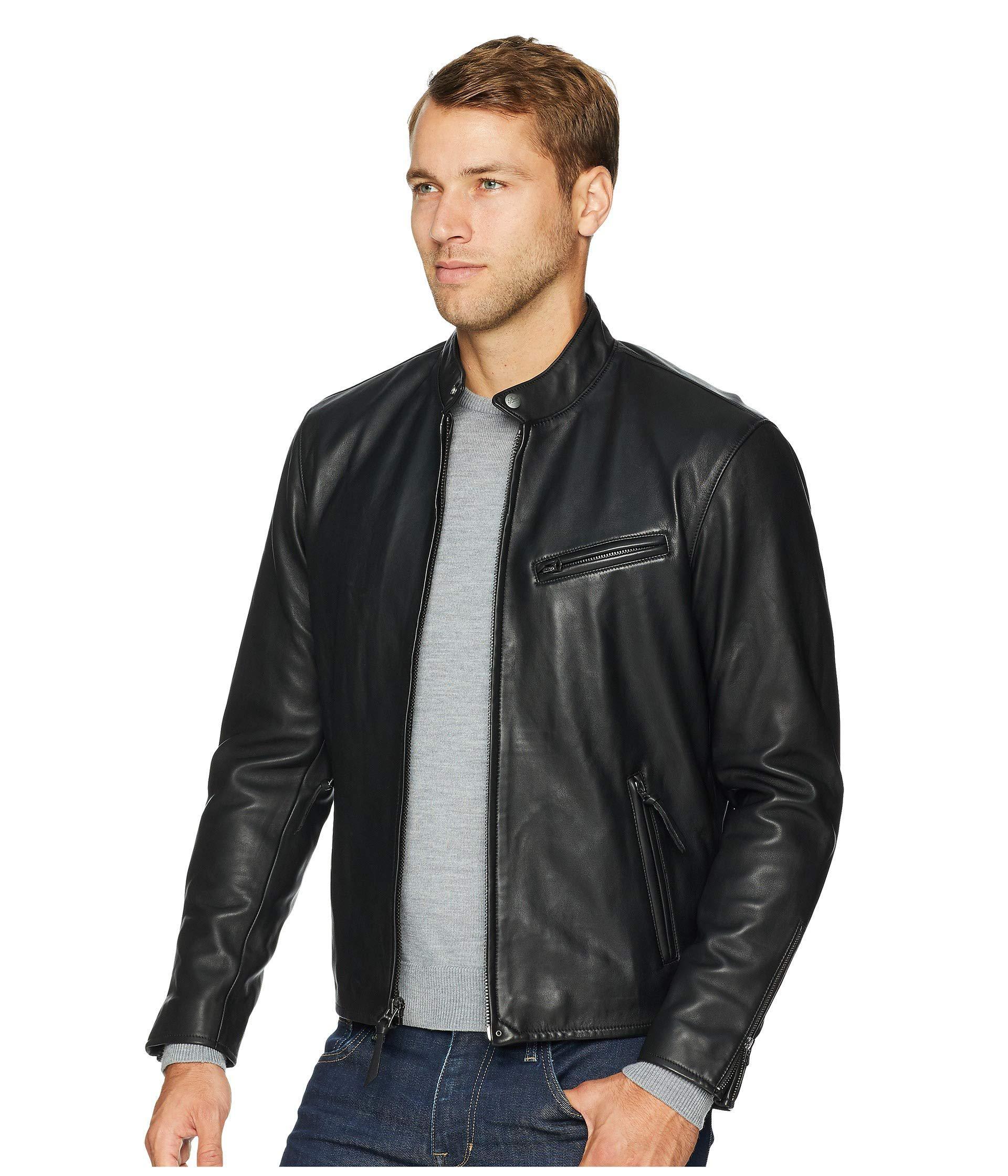 d2b2077642d9 Lyst - Polo Ralph Lauren Cafe Racer Leather Jacket (old Amber) Men s Coat  in Black for Men