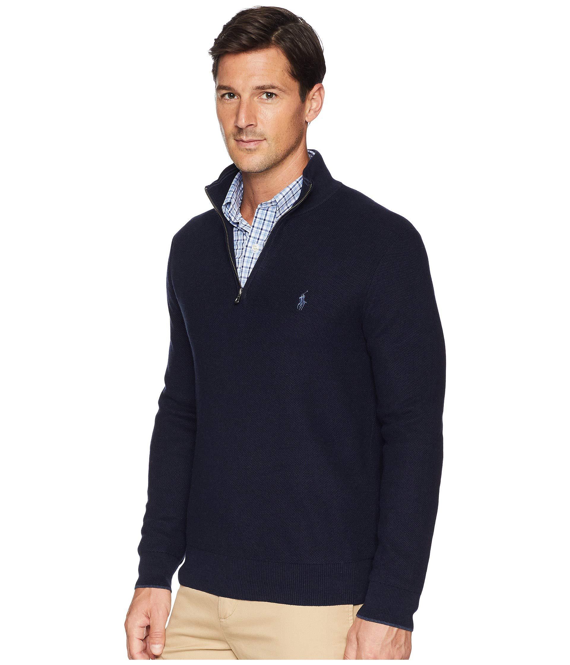 Lyst - Polo Ralph Lauren Textured Pique 1 2 Zip (oatmeal Heather) Men s  Sweater in Blue for Men 531b13faf898
