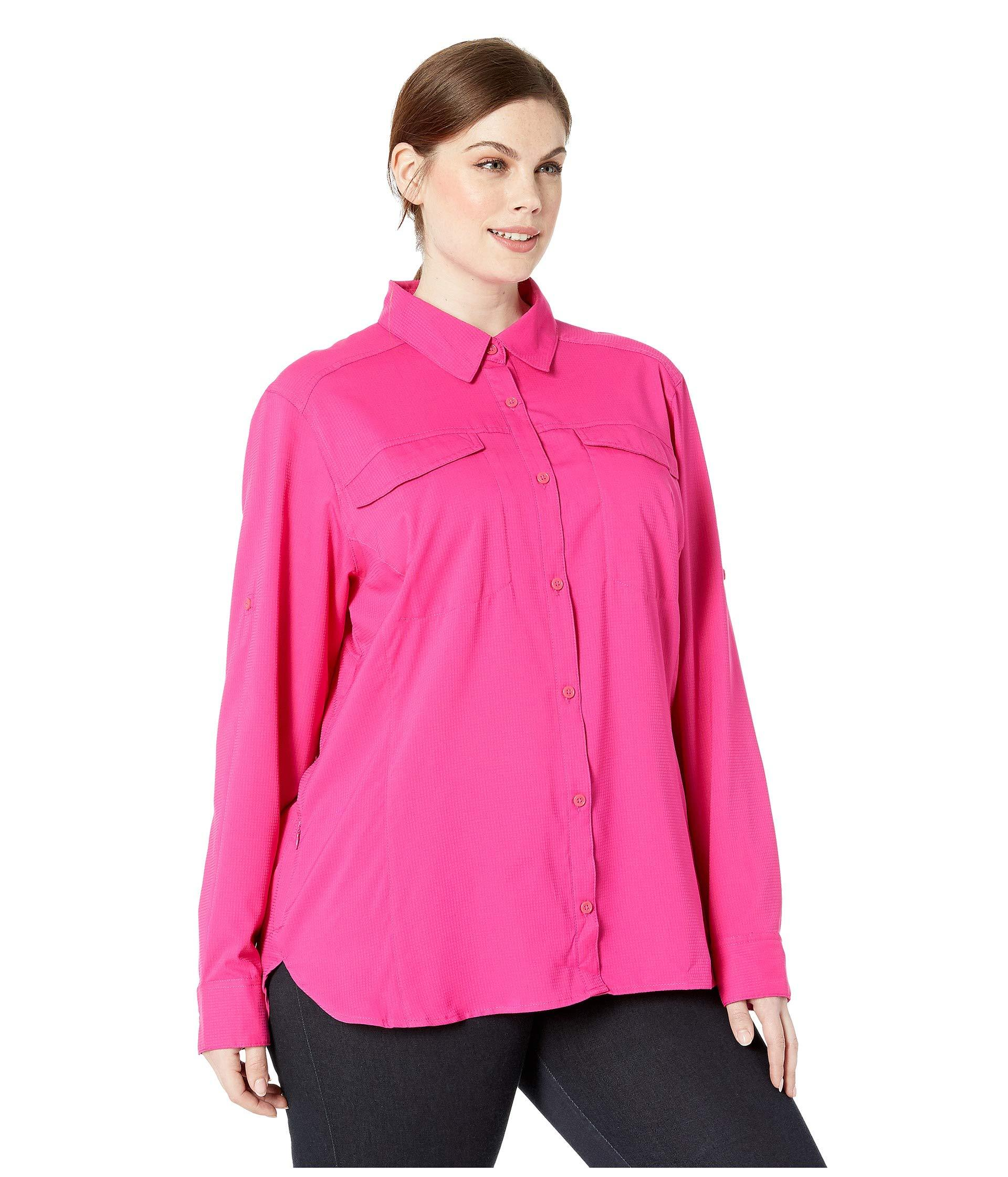 f1d1e4a671d Columbia - Plus Size Silver Ridge Lite Long Sleeve Shirt (haute Pink) Women's  Long. View fullscreen