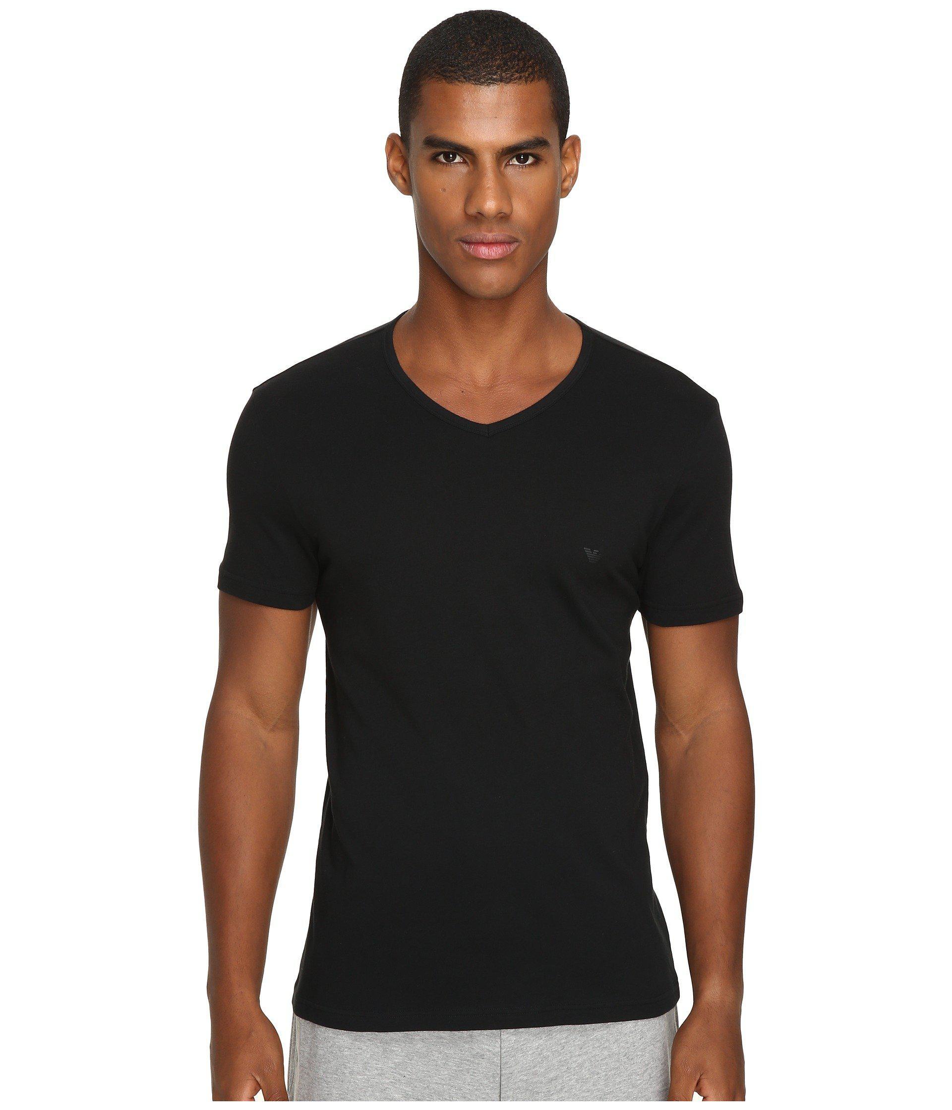 80eab8f27a26 Lyst - Emporio Armani 3-pack V-neck T-shirt (black black black) Men s T  Shirt in Black for Men