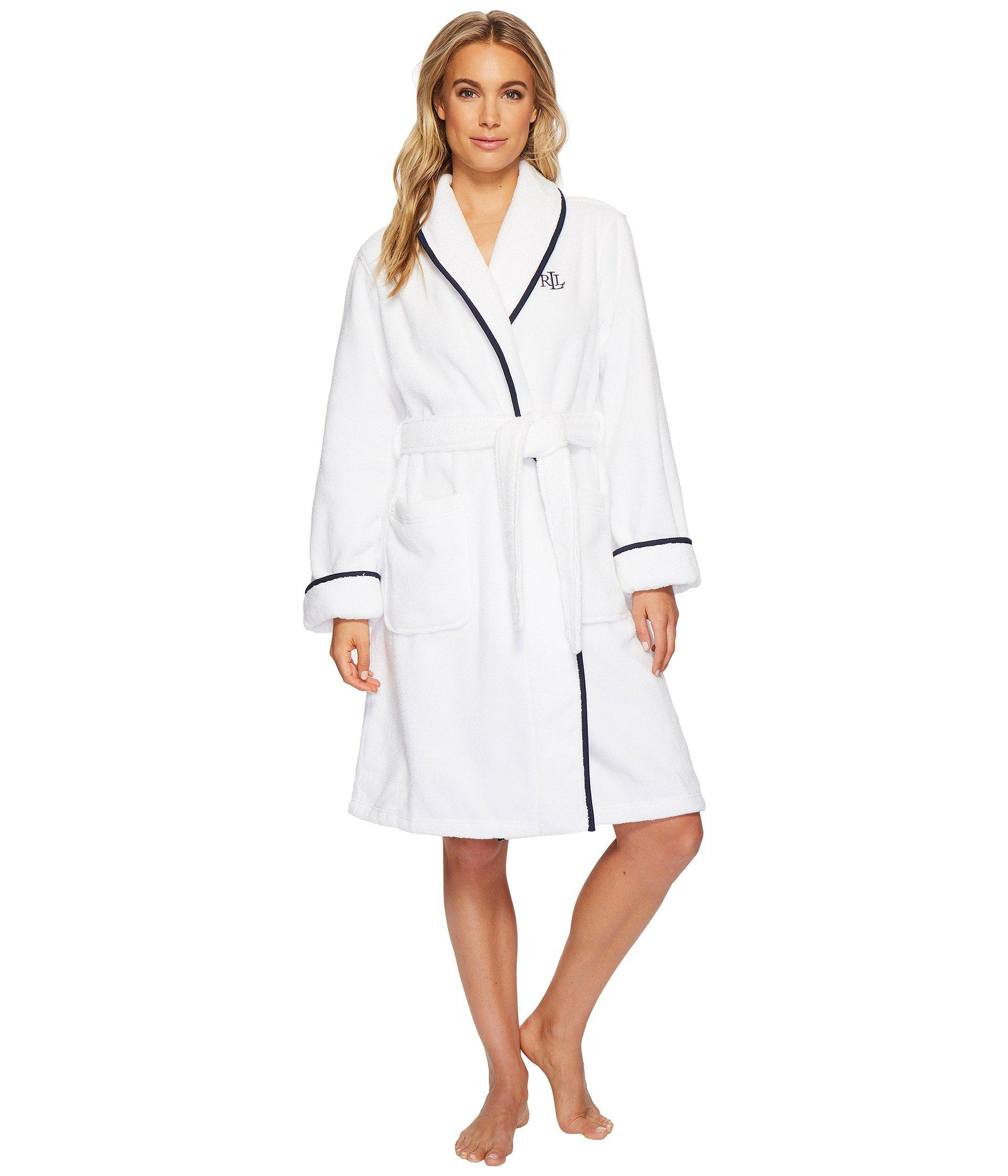 53dddb27fb Lyst - Lauren by Ralph Lauren Cotton Terry Shawl Collar Robe With ...