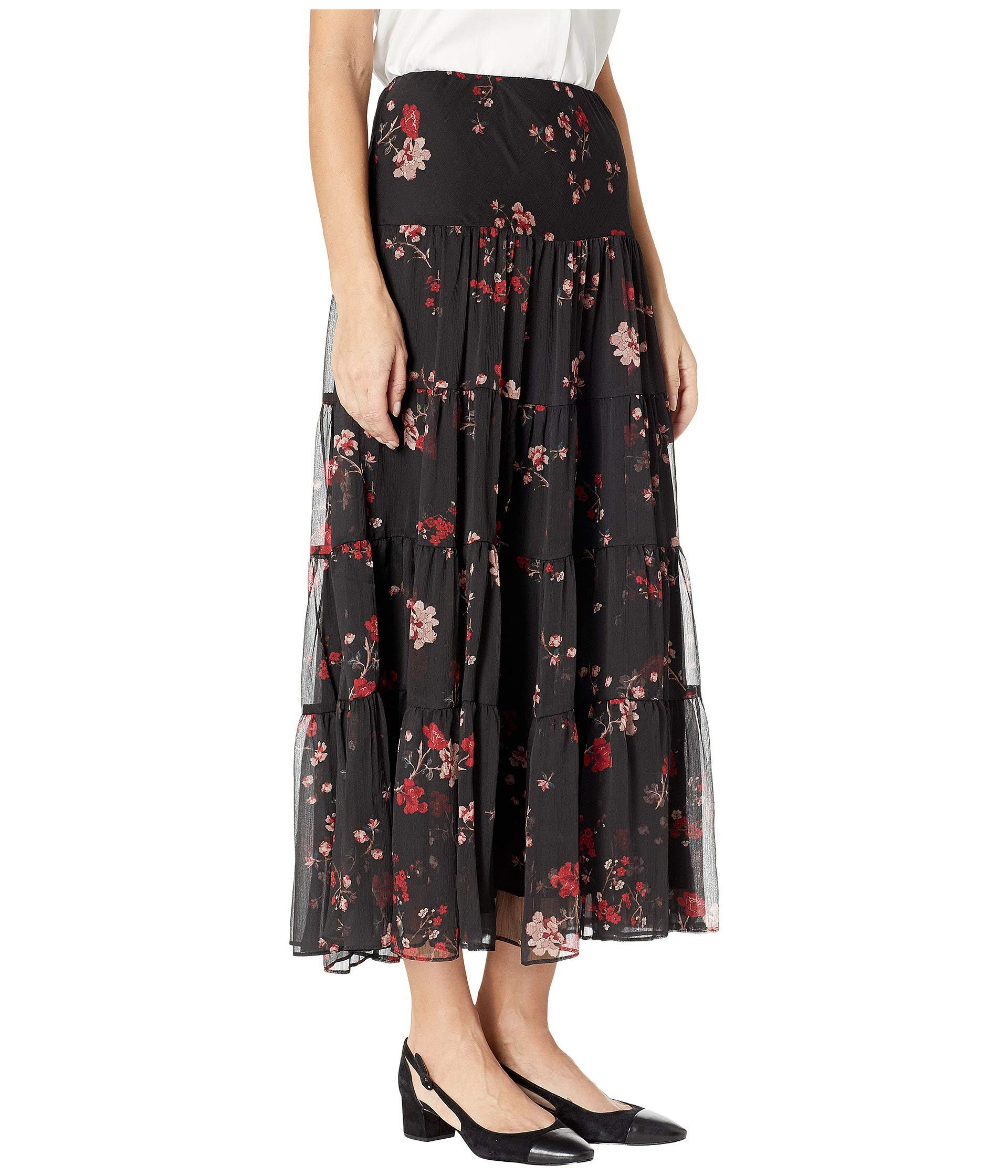 757cf8ae3b Lauren by Ralph Lauren Floral Georgette Peasant Skirt (black Multi ...