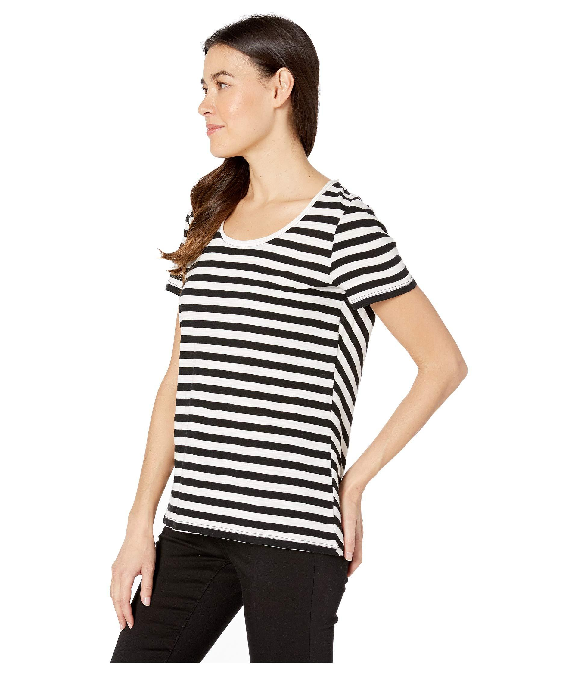 ab50a8f252 Lyst - Two By Vince Camuto Short Sleeve Amour City Stripe Scoop Neck Tee  (rich Black) Women s T Shirt in Black