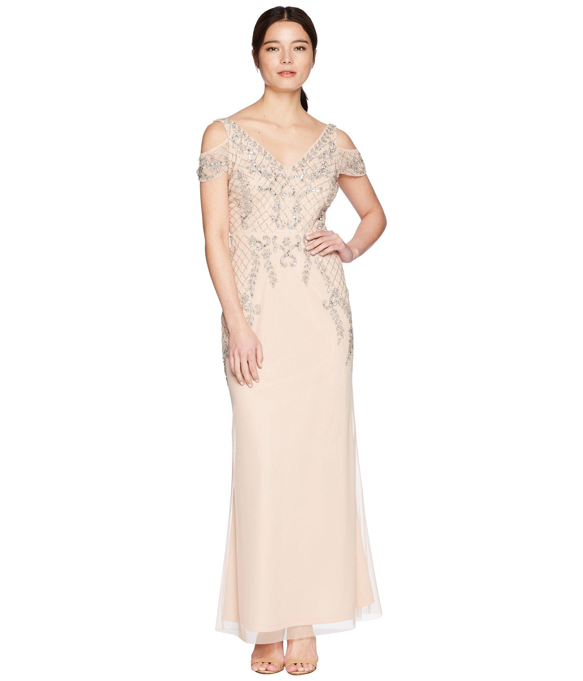 Lyst - Adrianna Papell Petite V-neck Long Beaded Mob Gown With Cap ...