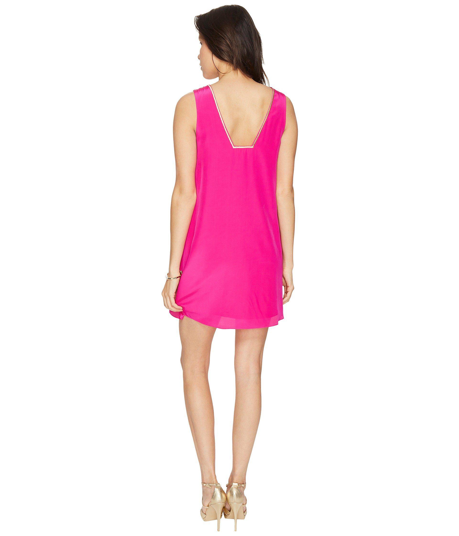 b43fce5a3b07f8 Lilly Pulitzer Owen Silk Trapeze Dress in Pink - Lyst