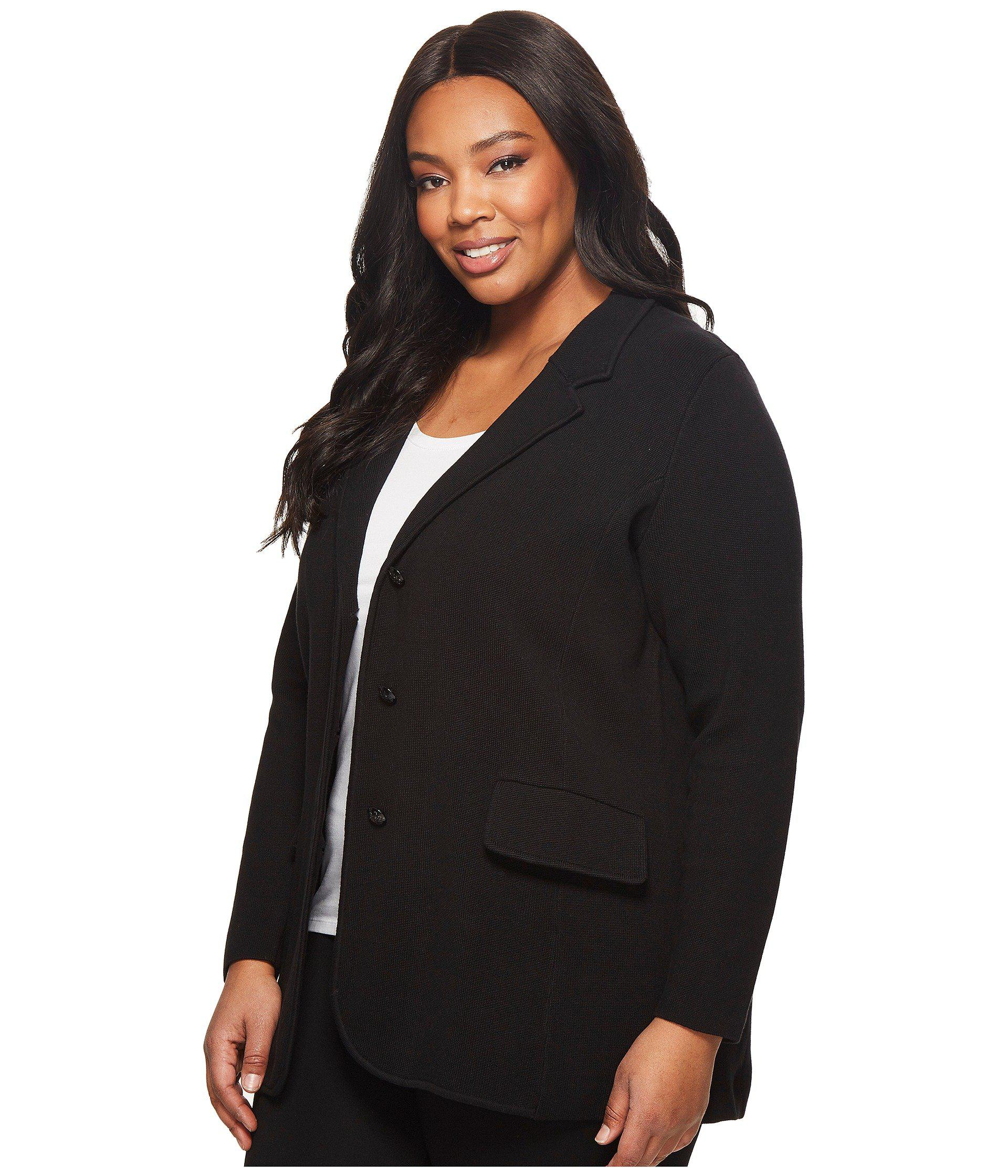 7313c4a3ed983 Lyst - Lauren by Ralph Lauren Plus Size Knit Sweater Blazer (black) Women s  Jacket in Black