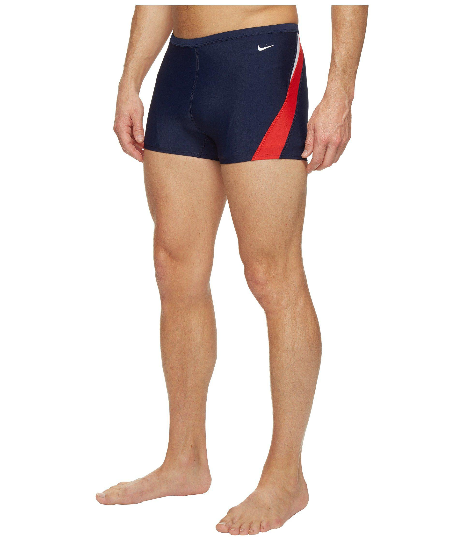 01a355332b Lyst - Nike Surge Color Block Poly Square Leg Brief (red/navy) Men's  Swimwear in Blue for Men