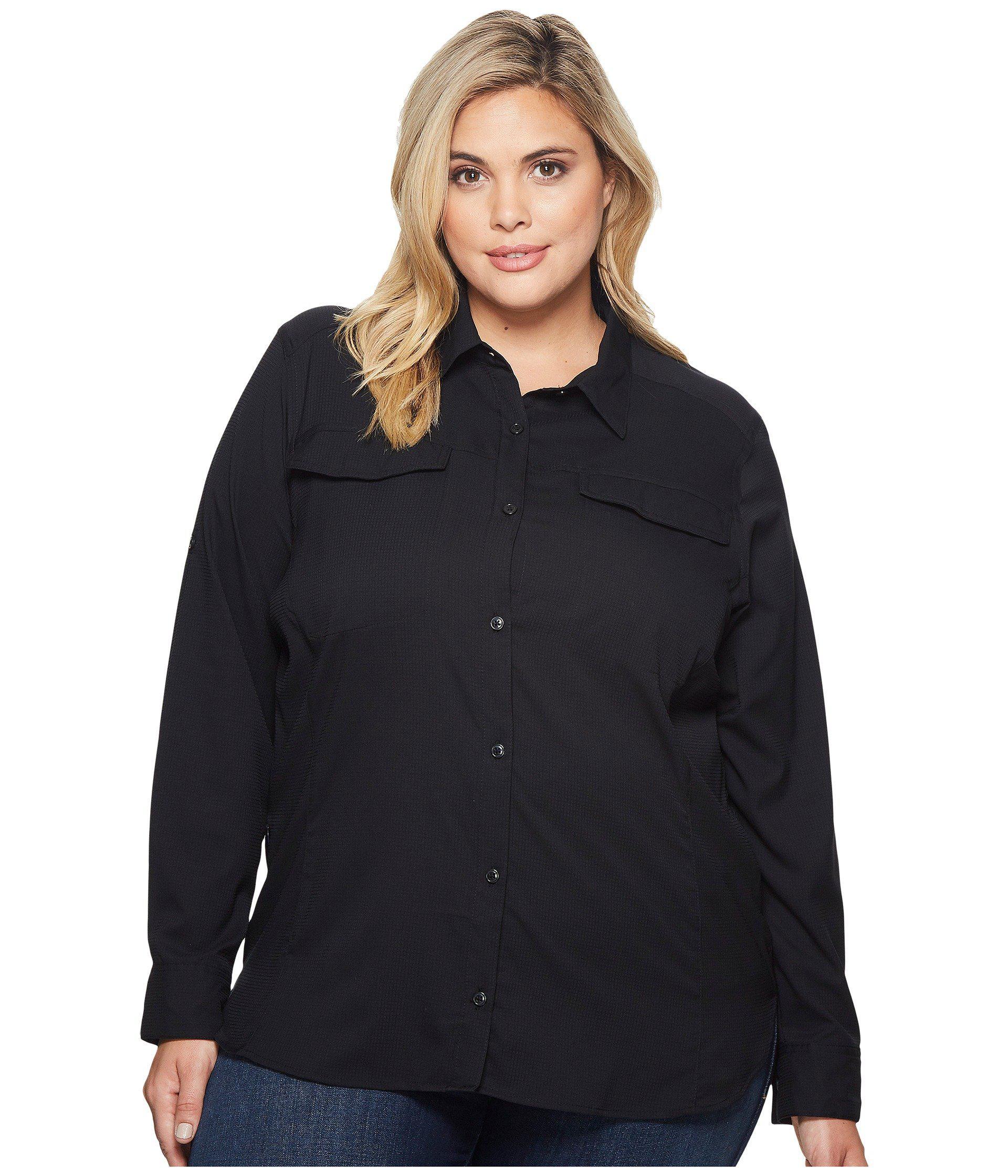 5b106aa34f3 Columbia. Black Plus Size Silver Ridge Lite Long Sleeve Shirt (white)  Women s ...