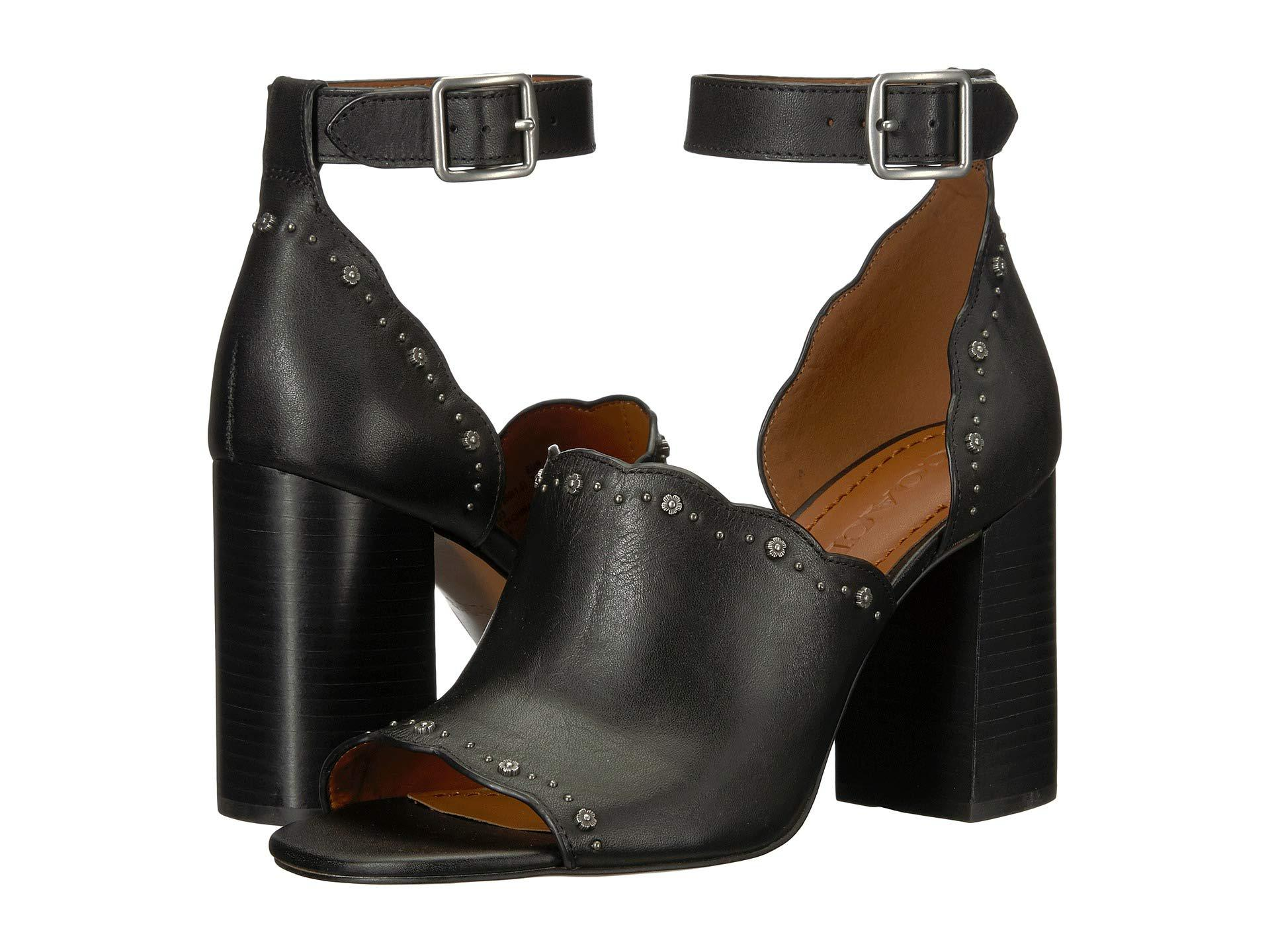 1ecc05f73bce COACH - Marnie Block Heel Shootie With Tea Rose Studs (black Leather) Women s  Sandals. View fullscreen