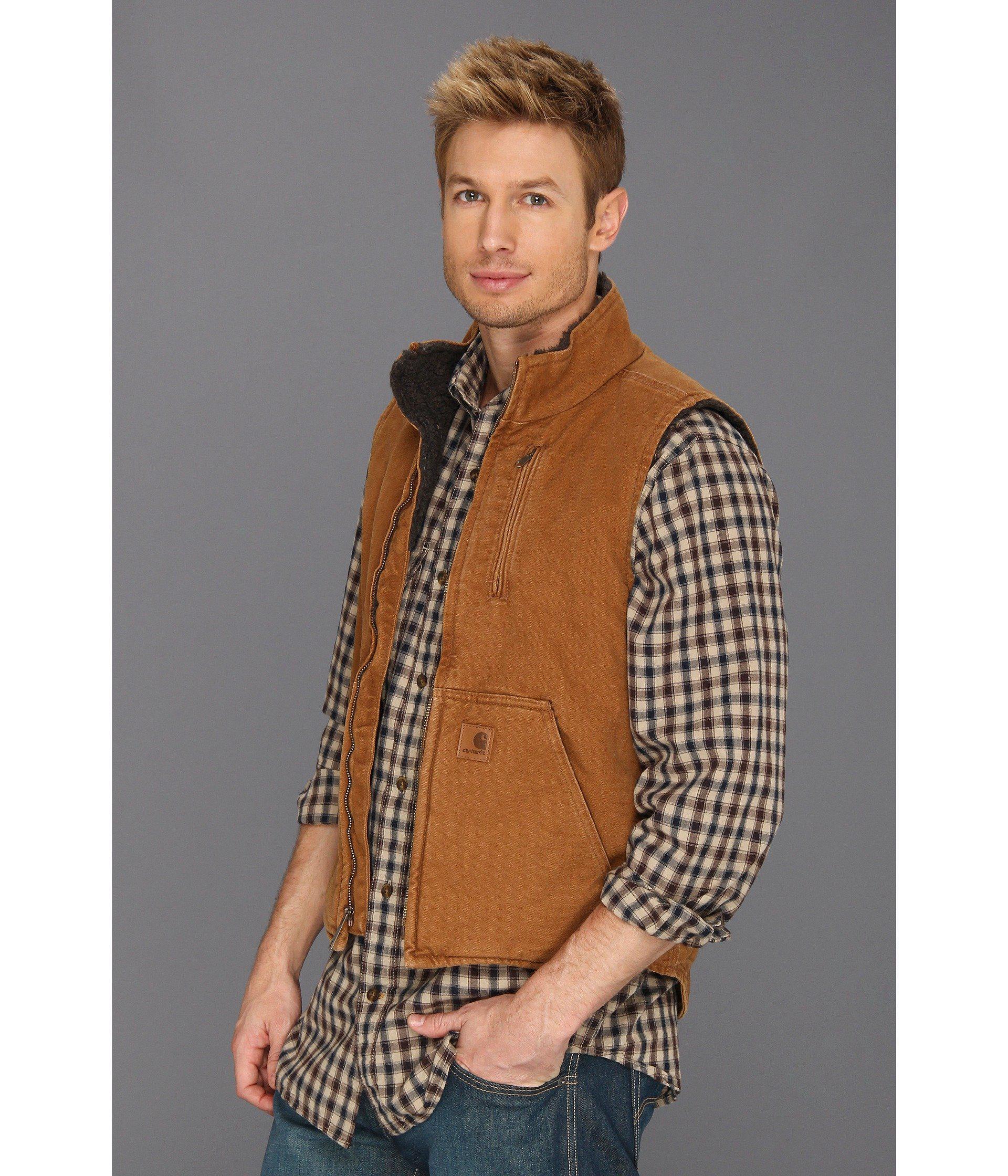 de4a11ee5c77 Lyst - Carhartt Sandstone Mock Neck Vest (gravel) Men s Vest in Brown for  Men