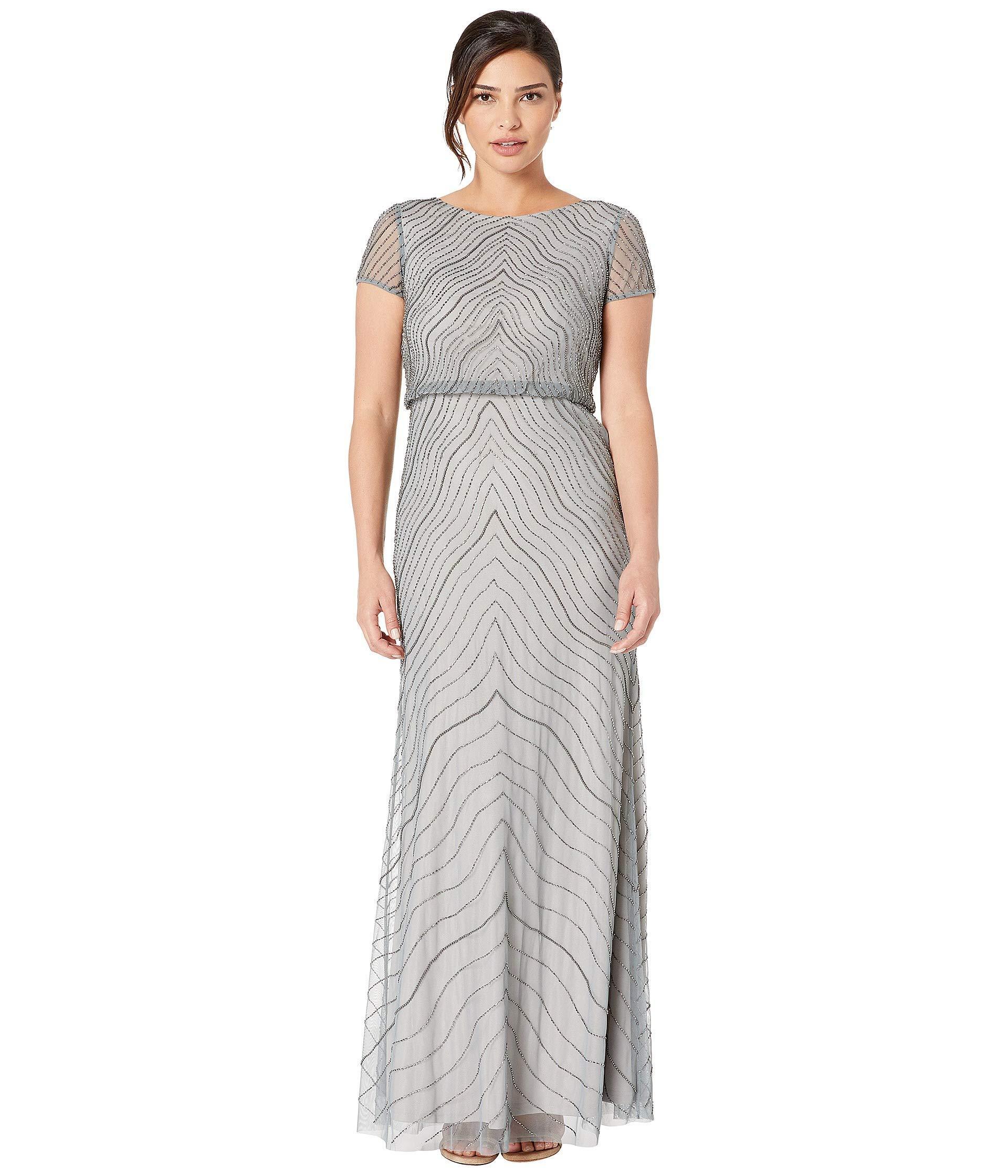 c6fd8d7bbdb07e Lyst - Adrianna Papell Cap Sleeve Beaded Blouson Evening Gown (slate ...