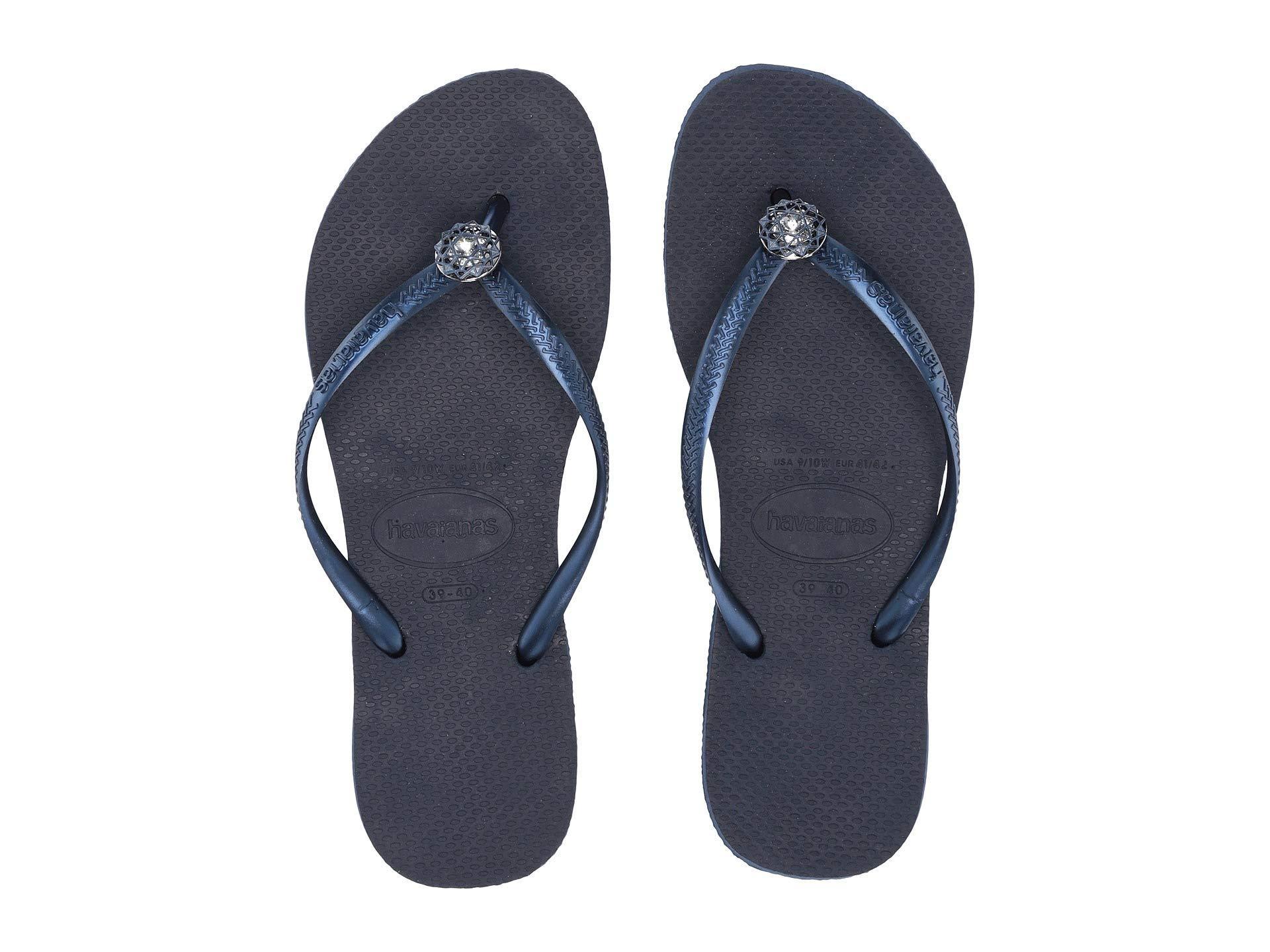 d9f8b0ba5 Havaianas - Slim Crystal Poem Flip Flops (navy Blue 1) Women s Sandals -  Lyst. View fullscreen