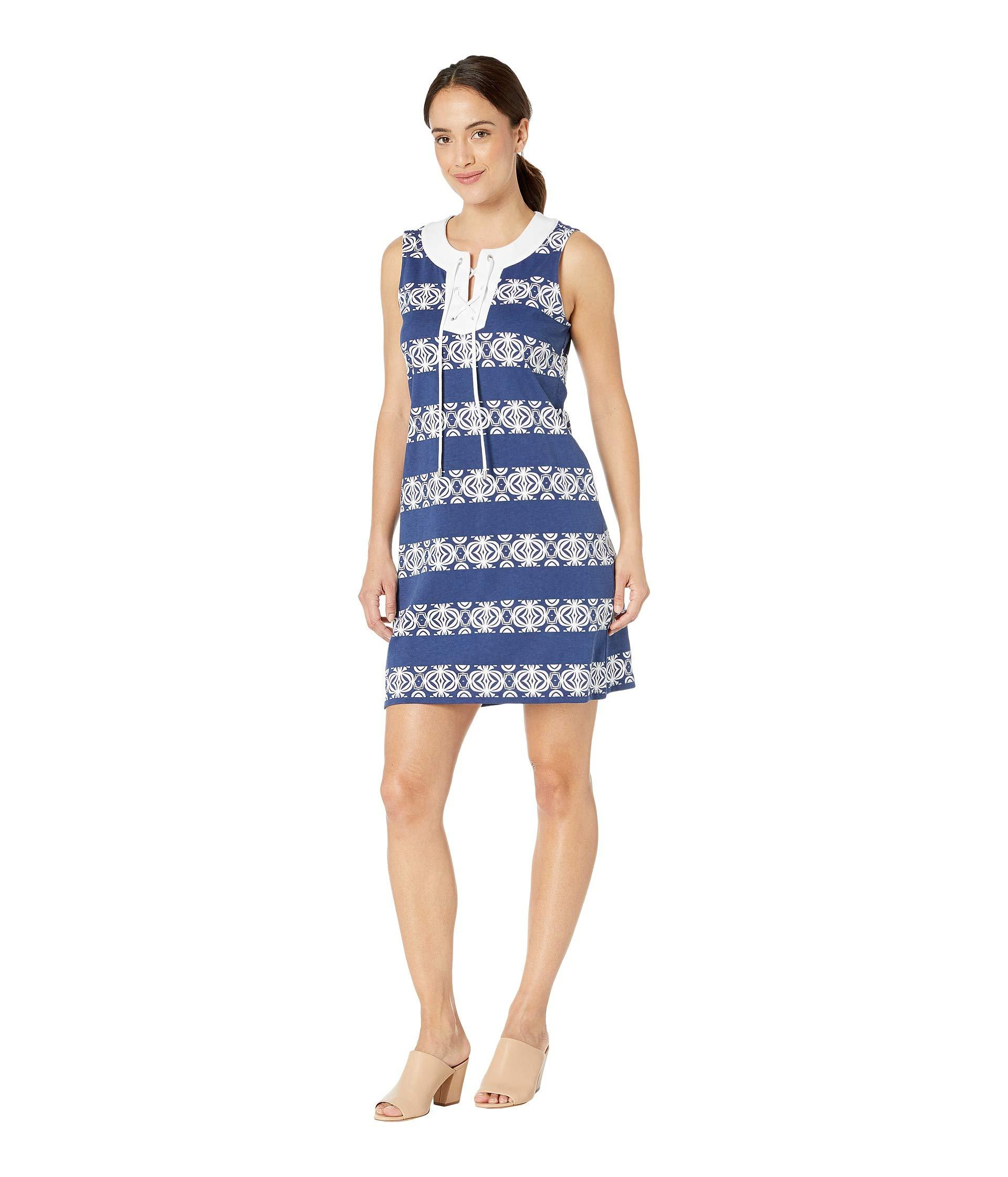 37a487edff Tommy Bahama Bungalow Geo Stripe Shift Dress (island Navy) Women's Dress in  Blue - Save 43% - Lyst