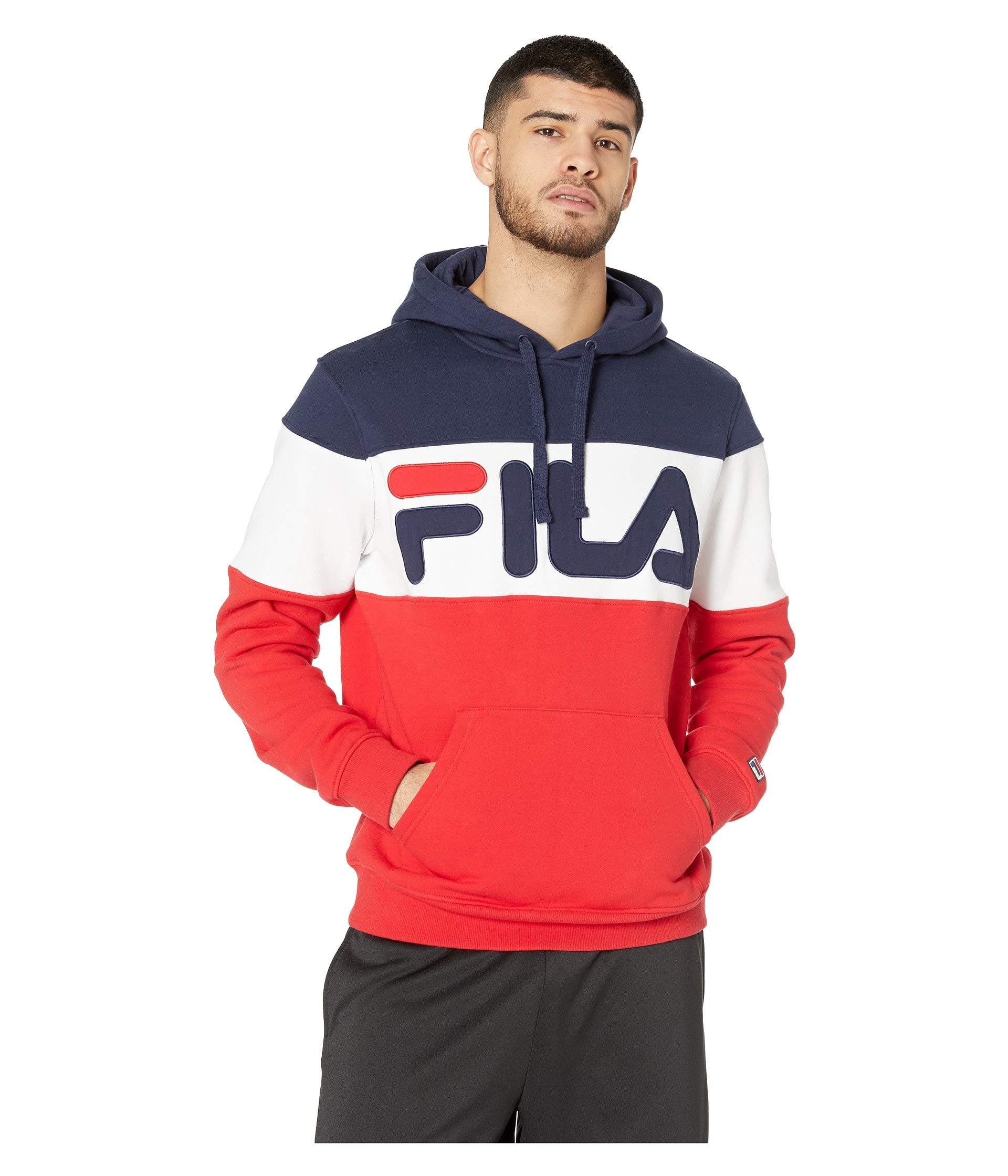 e8825c38a3ce Fila Flamino Fleece Hoodie (navy/chinese Red/white) Men's Clothing ...