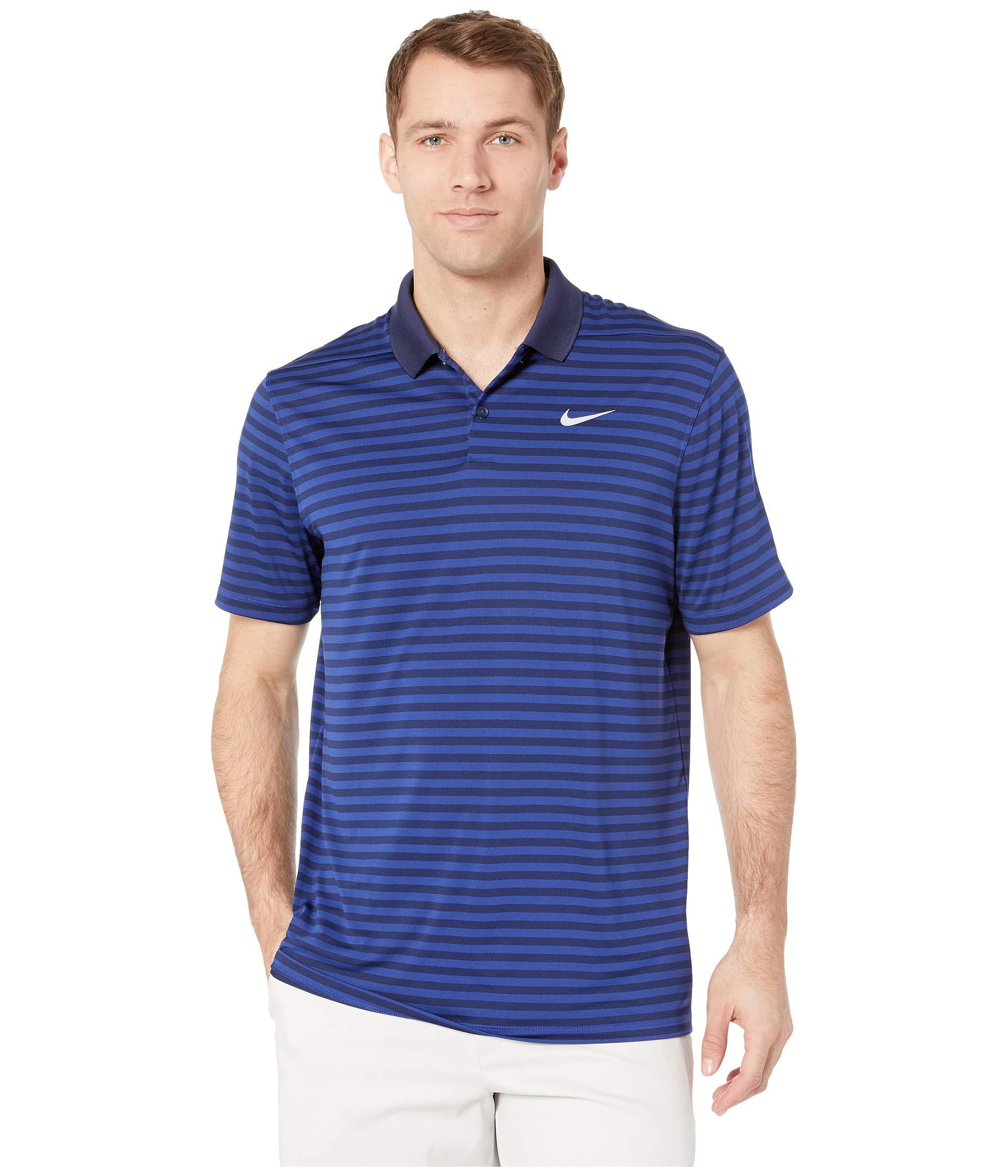 428fe3bd Lyst - Nike Dri-fittm Mini-stripe Victory Polo (game Royal/white ...