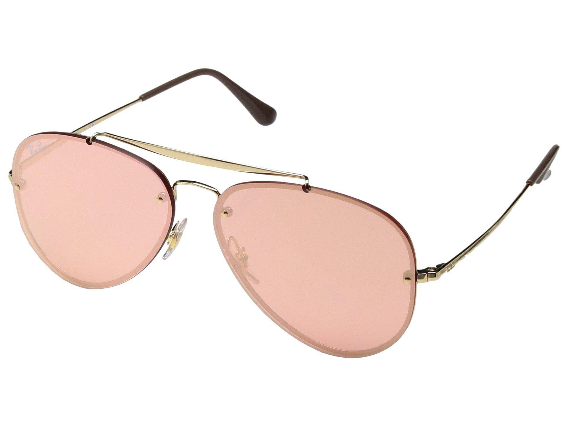 912f24afeae90 Lyst - Ray-Ban Blaze Aviator Sunglasses In Gold Pink Mirror Rb3584n ...