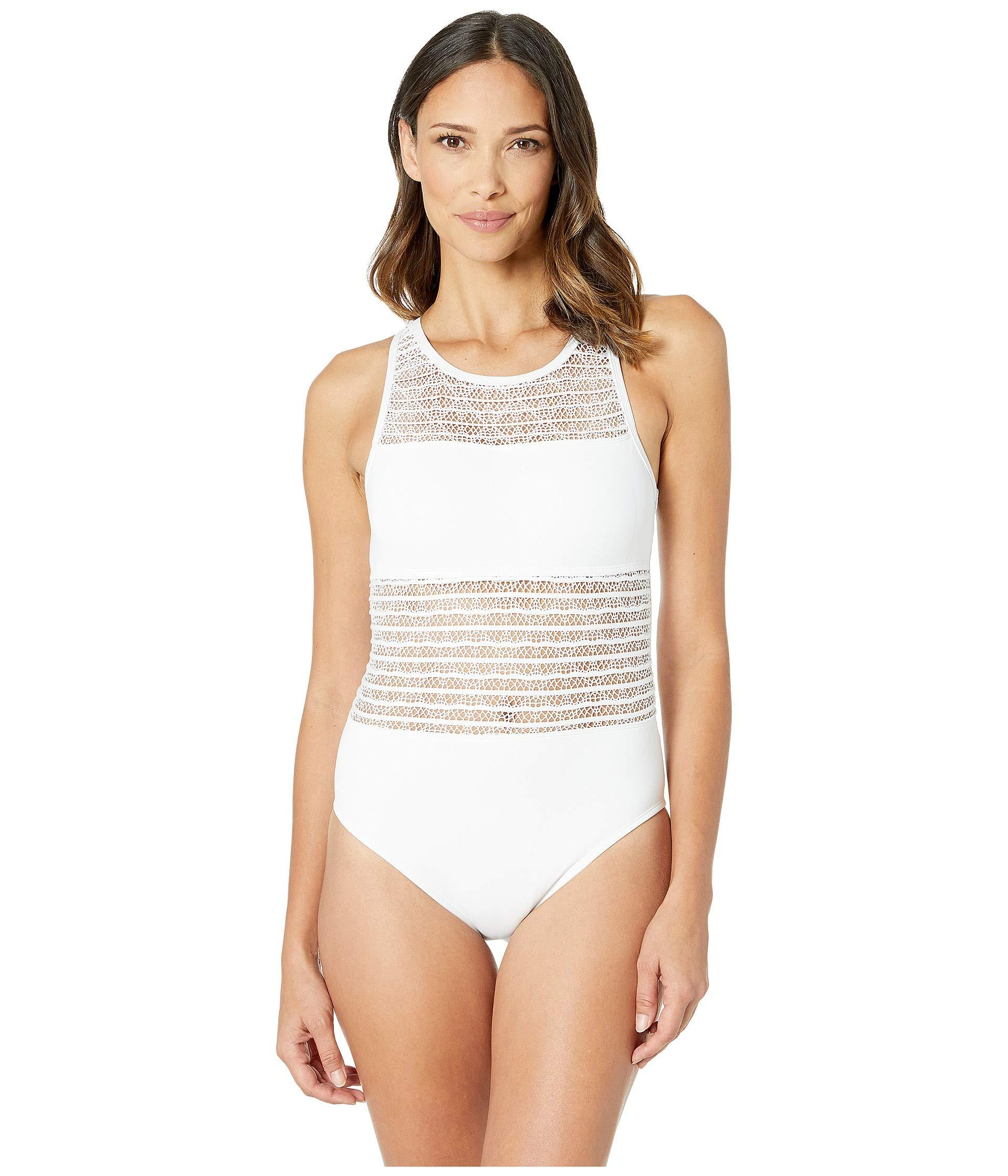 ccdcad729d Bleu Rod Beattie. White High Neck Tank Mio W/ Removable Cups (black) Women's  Swimsuits One Piece
