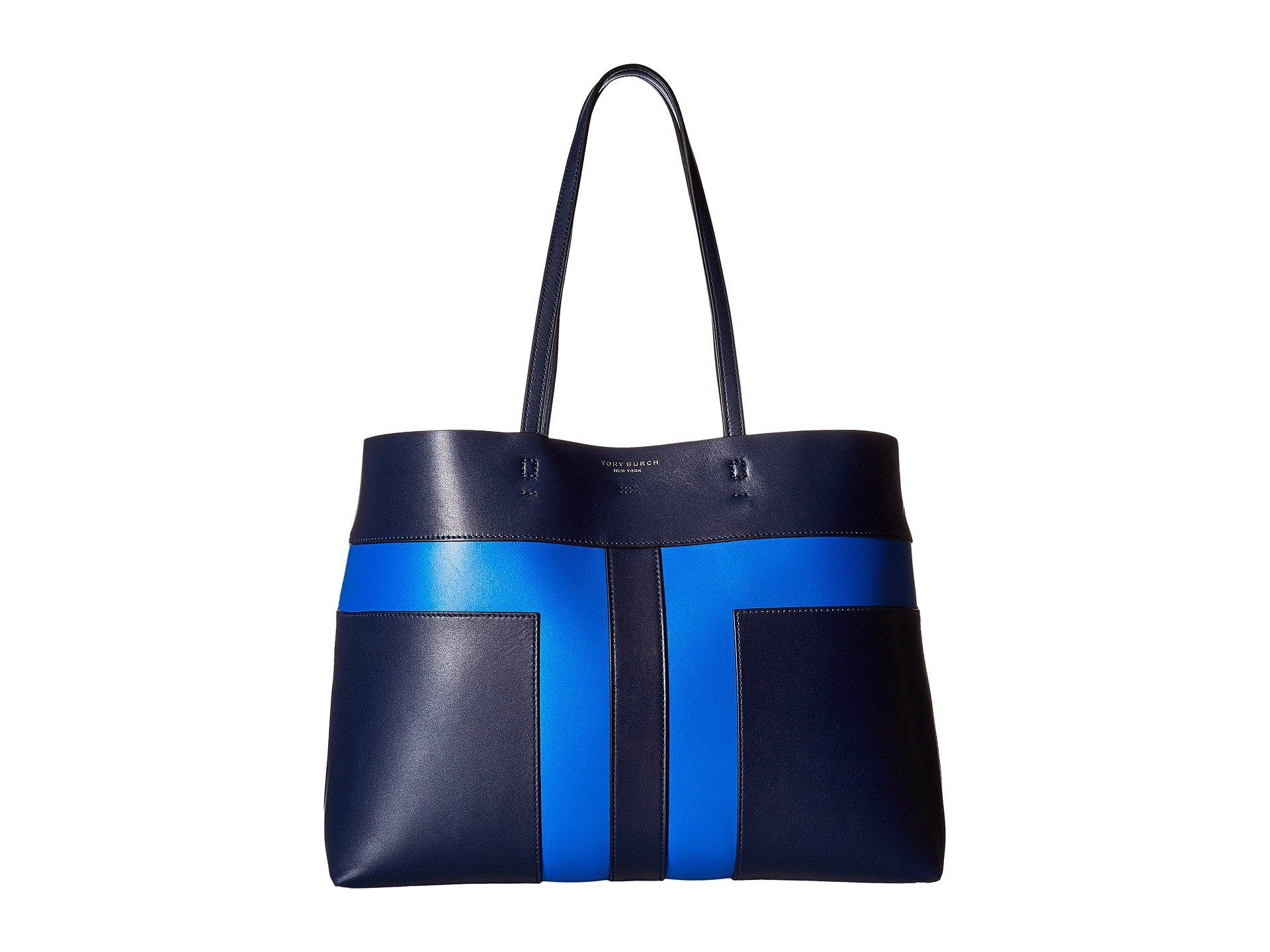 984c4c37f064 Lyst - Tory Burch Block-t Pieced Leather Tote in Blue