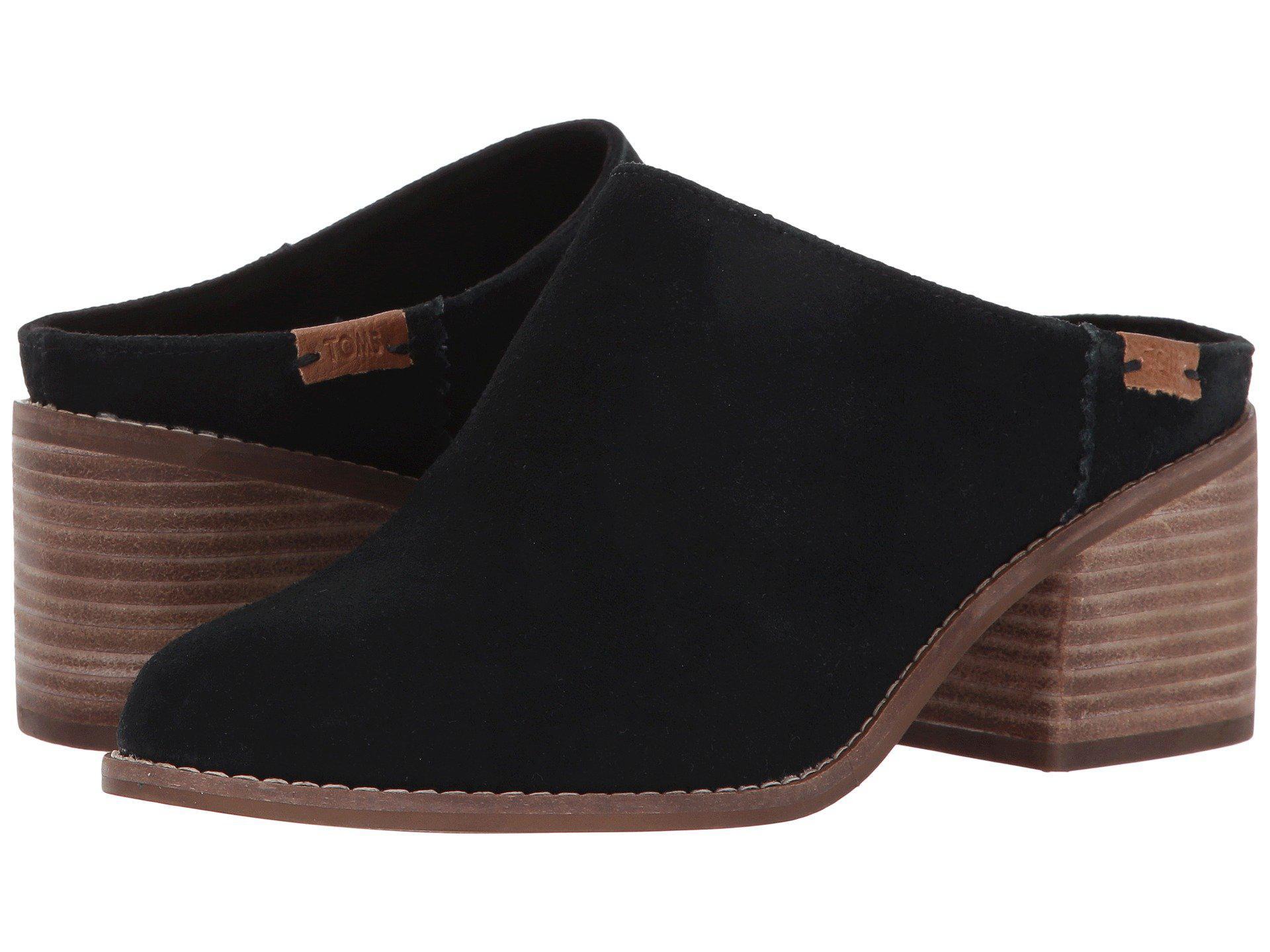 c95a93f3b0e Lyst - TOMS Leila Black Suede Heel Mule in Black - Save 58%