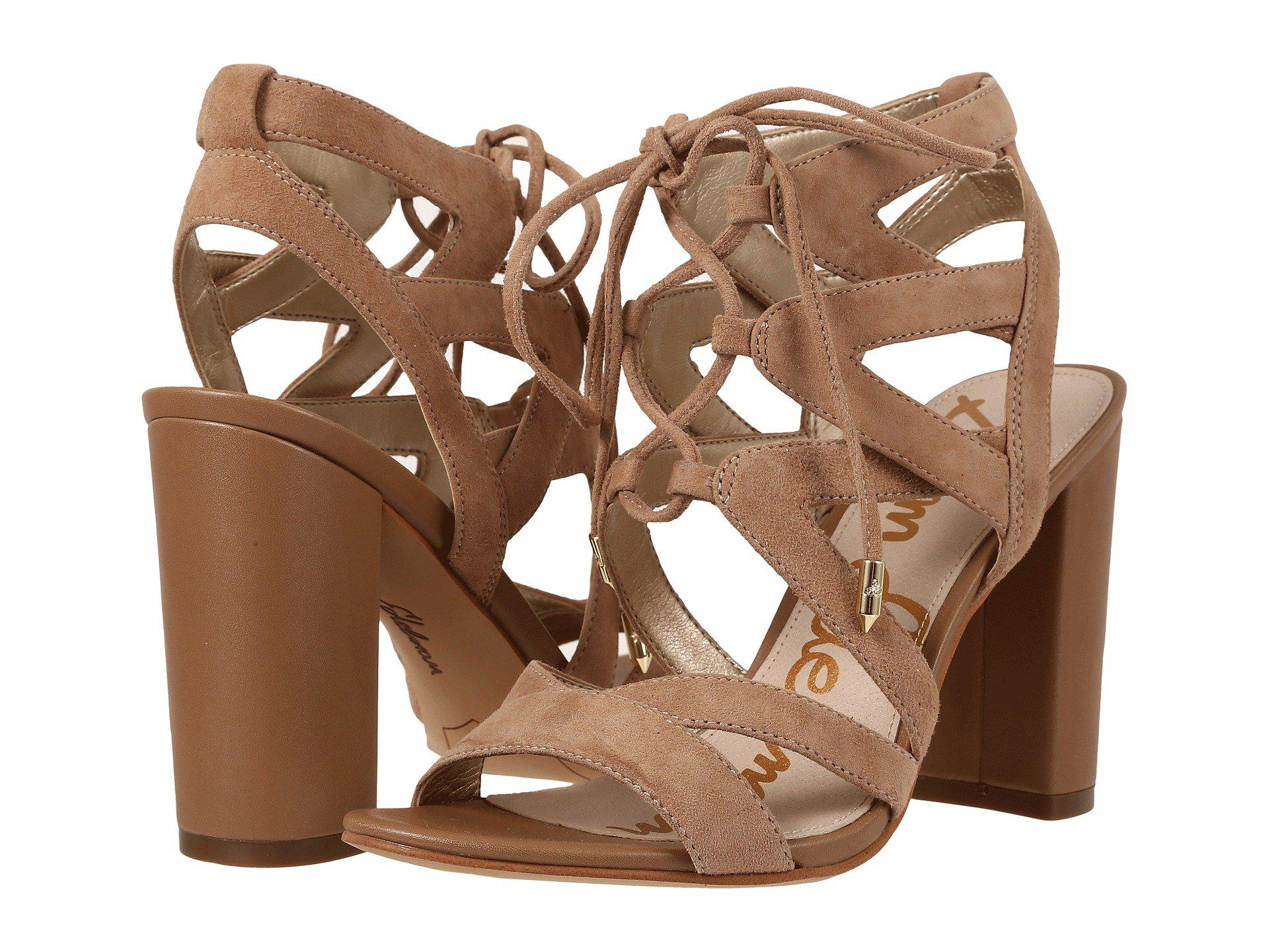 7cf2ac1131d8ad Lyst - Sam Edelman Yardley Cut-Out Suede Sandals in Natural