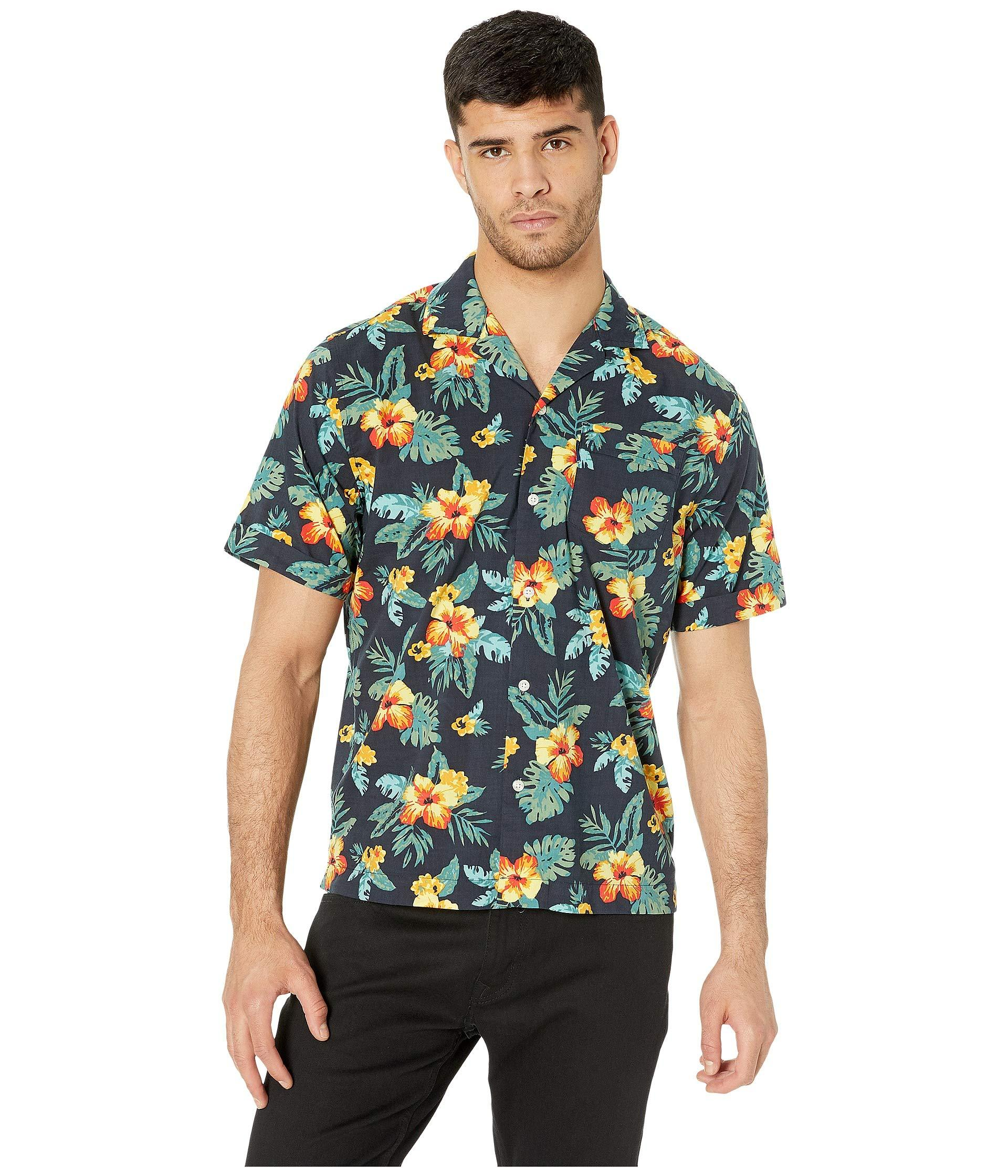 80aef0d4 Original Penguin. Blue Short Sleeve Floral Printed Shirt (dark Sapphire) Men's  Clothing