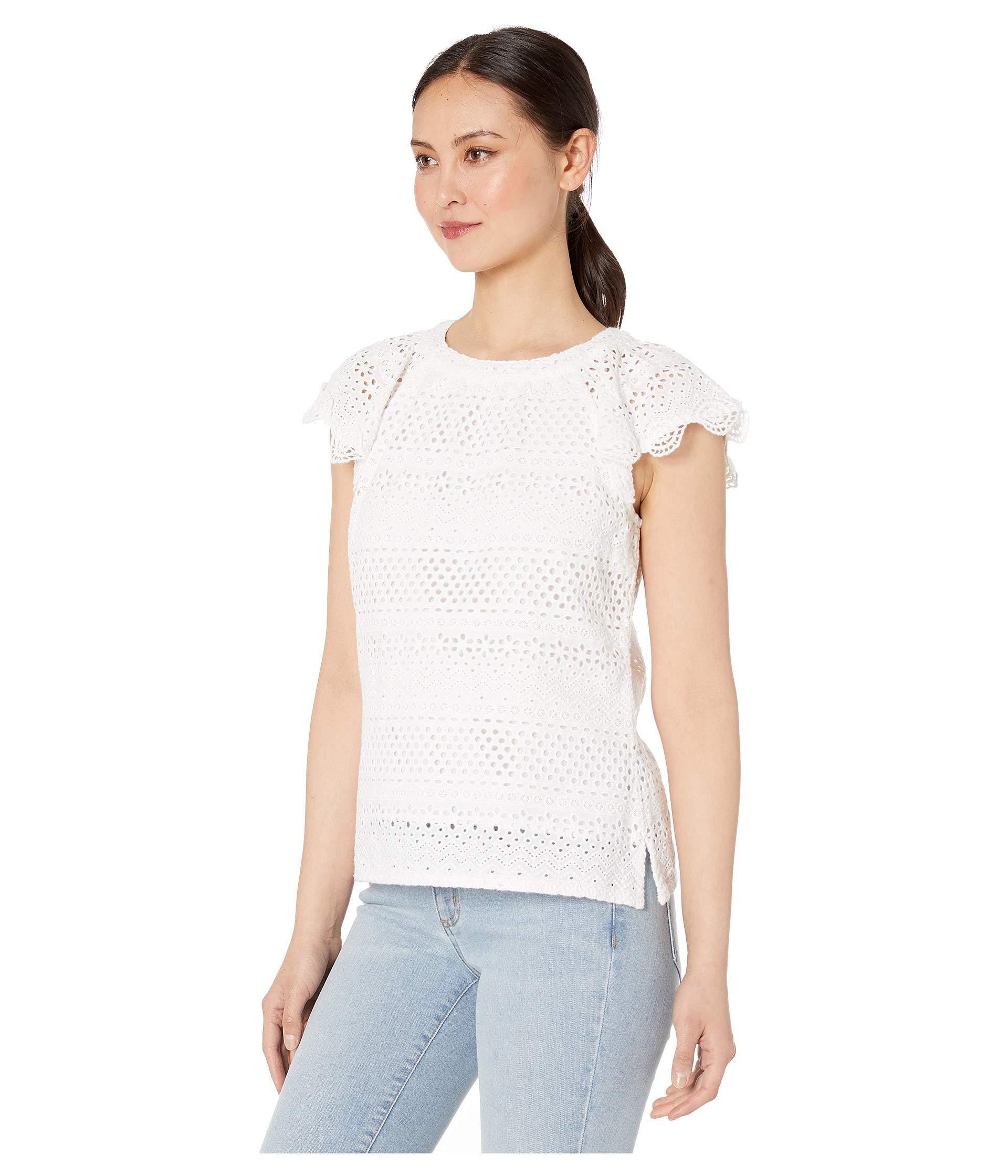 45a3c73ac80 Lyst - Lauren by Ralph Lauren Eyelet Cotton Top (white) Women's ...