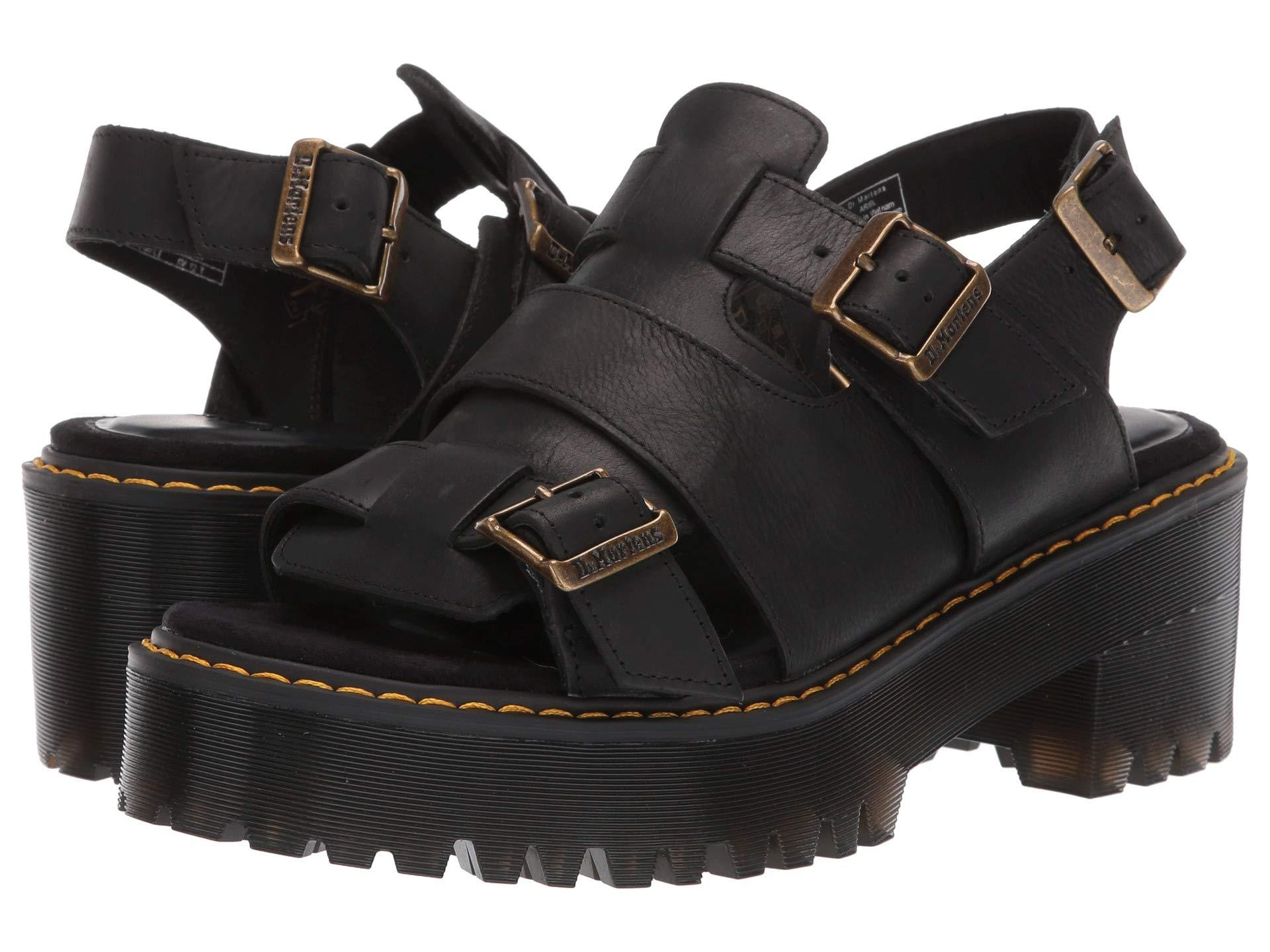 c604e8c7c09c Lyst - Dr. Martens Ariel Leaather Chunky Heeled Sandals in Black ...