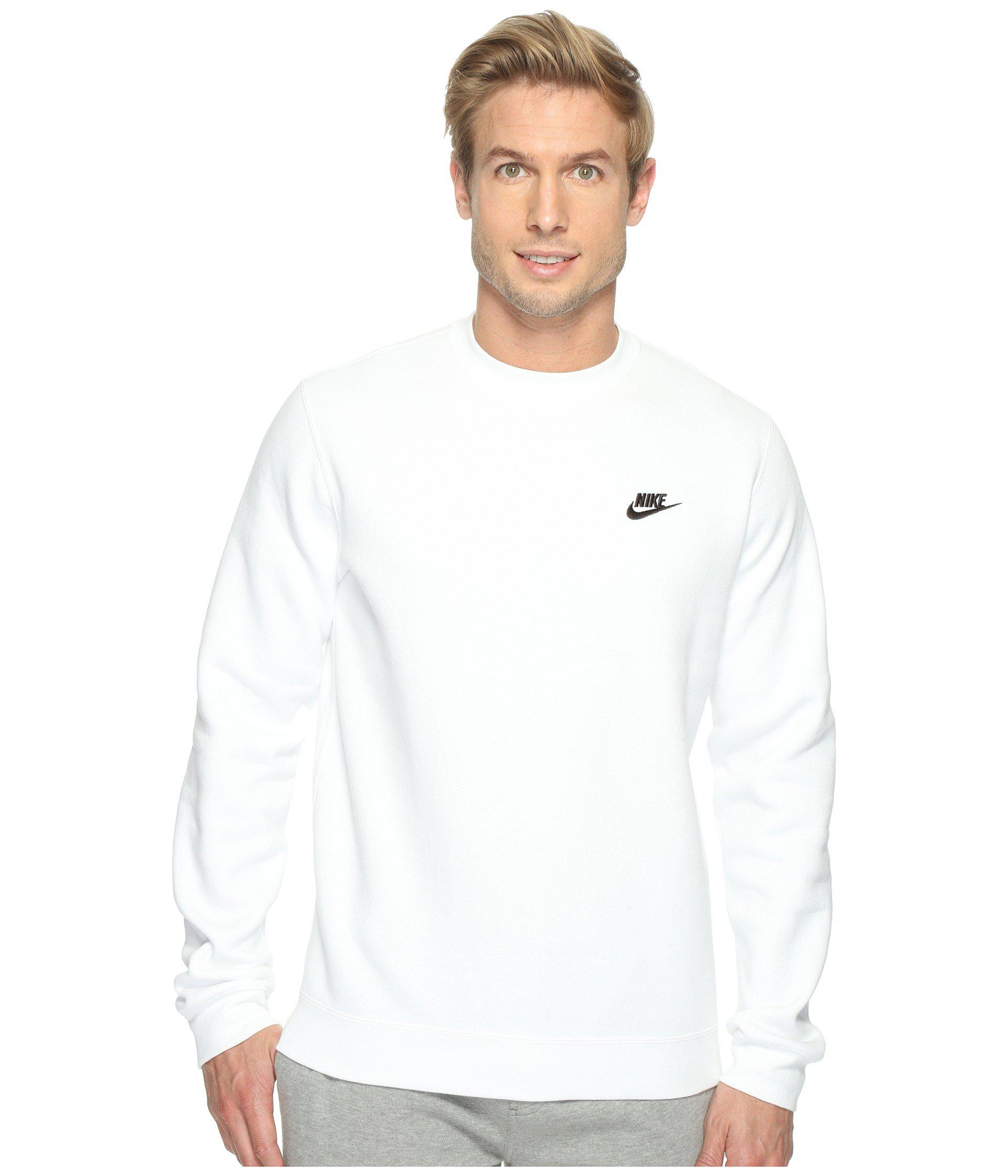 18e21b688 Nike Club Fleece Pullover Crew (dark Grey Heather/white) Men's ...