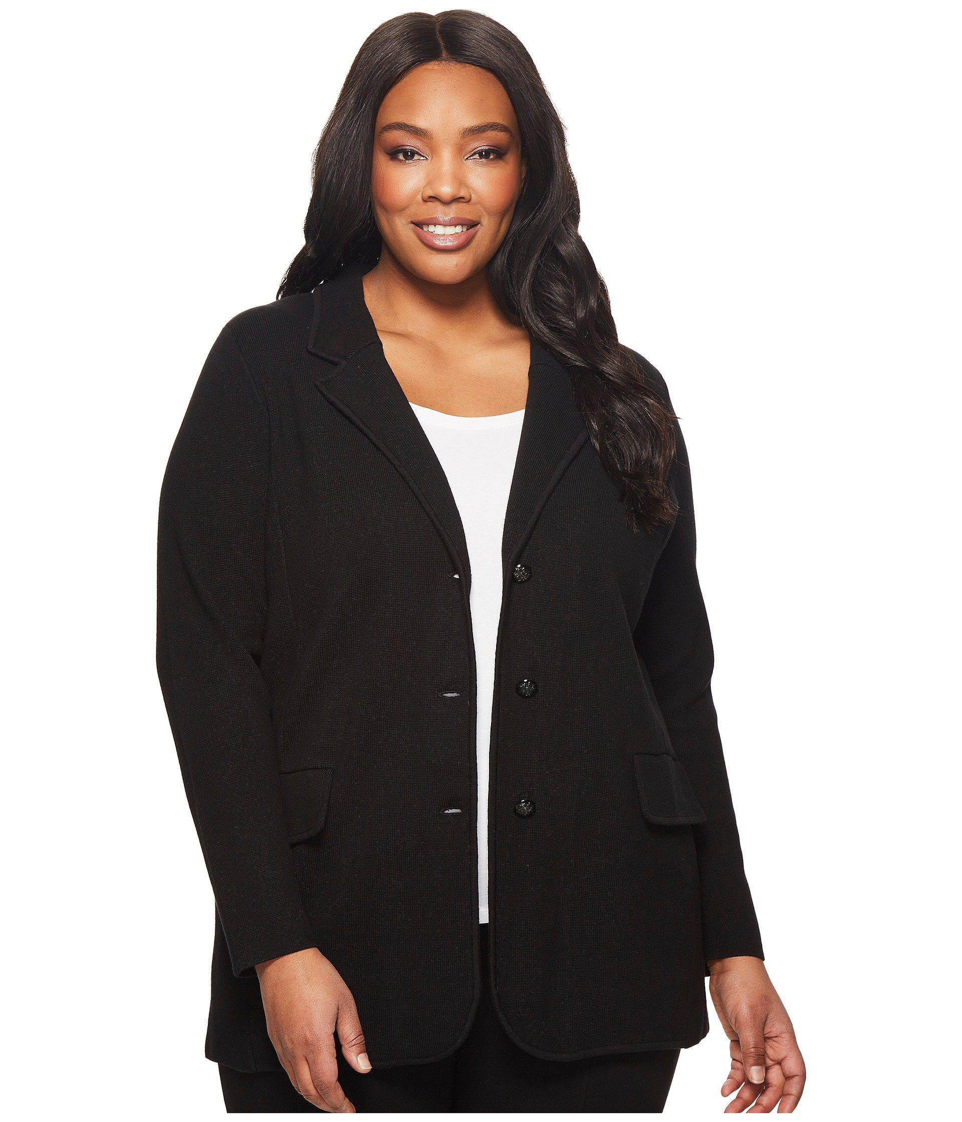f4d857c9f5f5e Lyst - Lauren by Ralph Lauren Plus Size Knit Sweater Blazer (black ...