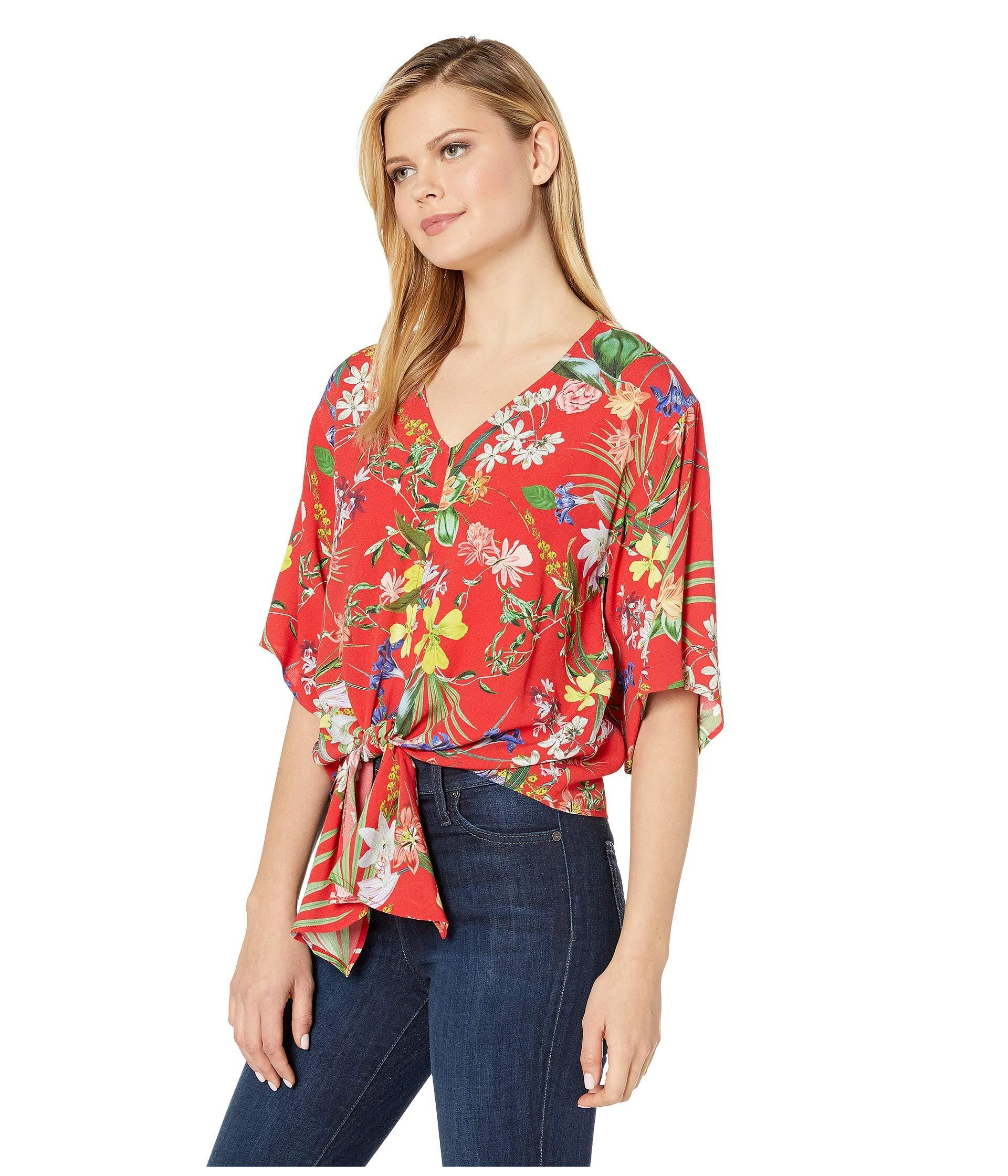924af468f7ce52 Lyst - Karen Kane Tie Front Top (print) Women's Clothing in Red