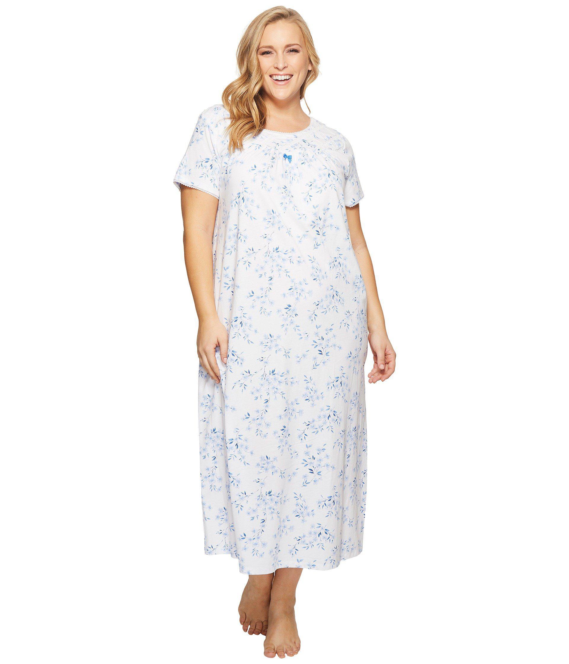 Lyst - Carole hochman Plus Size Cozy Jersey Short Sleeve Long Gown