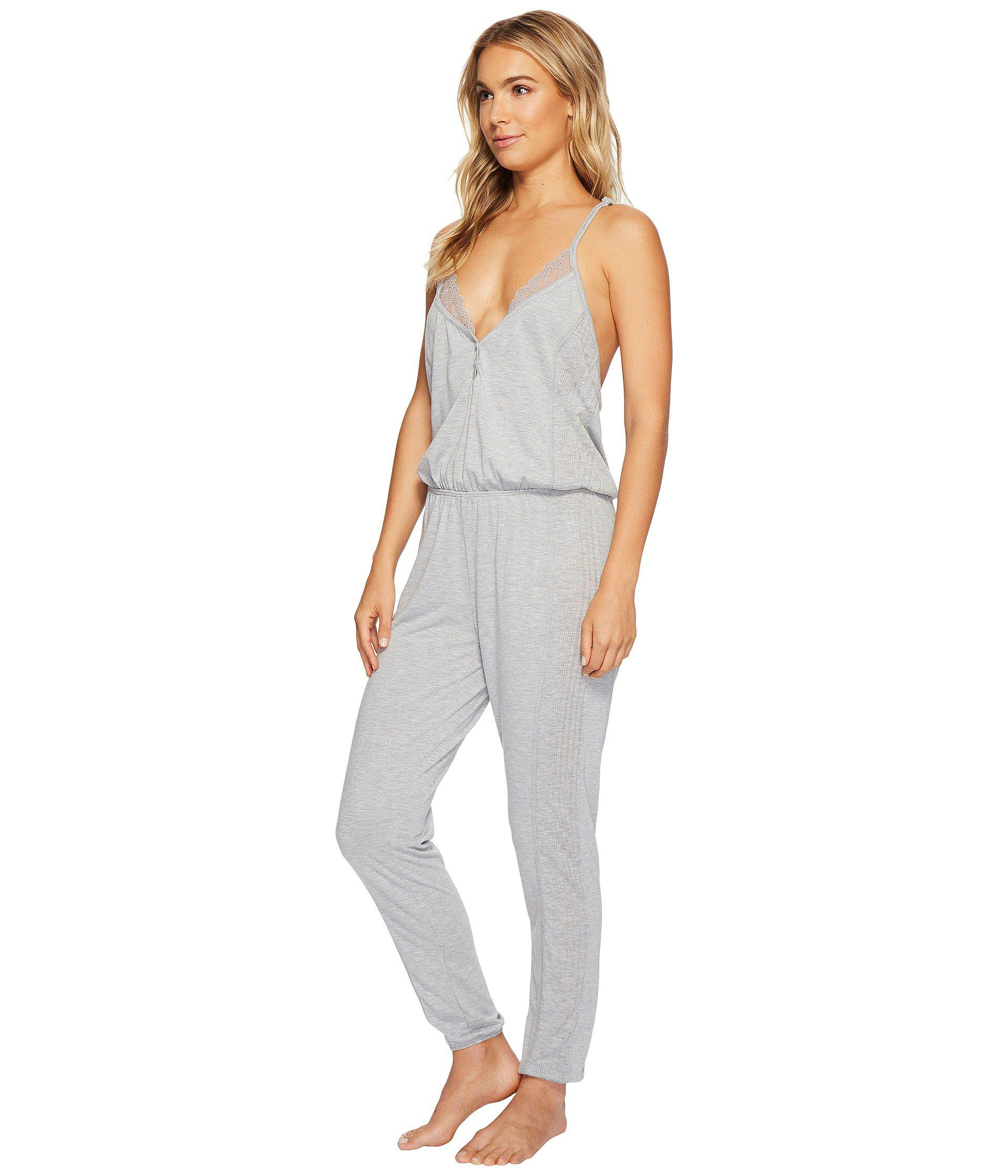 283e21bd43de Lyst - Splendid Always Long Lace Back Pajama Romper (black) Women s Jumpsuit    Rompers One Piece in Gray - Save 13%