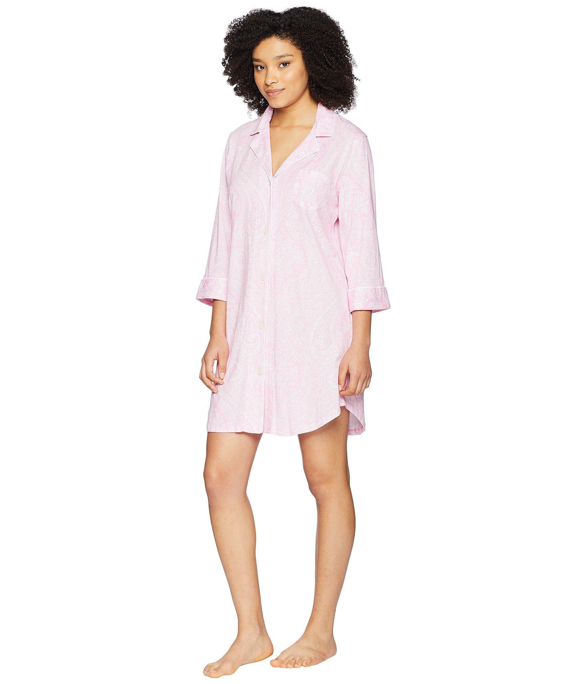 54eb6b7acb Lauren by Ralph Lauren - Essentials Bingham Knits Sleep Shirt (pink  Paisley) Women s Pajama. View fullscreen