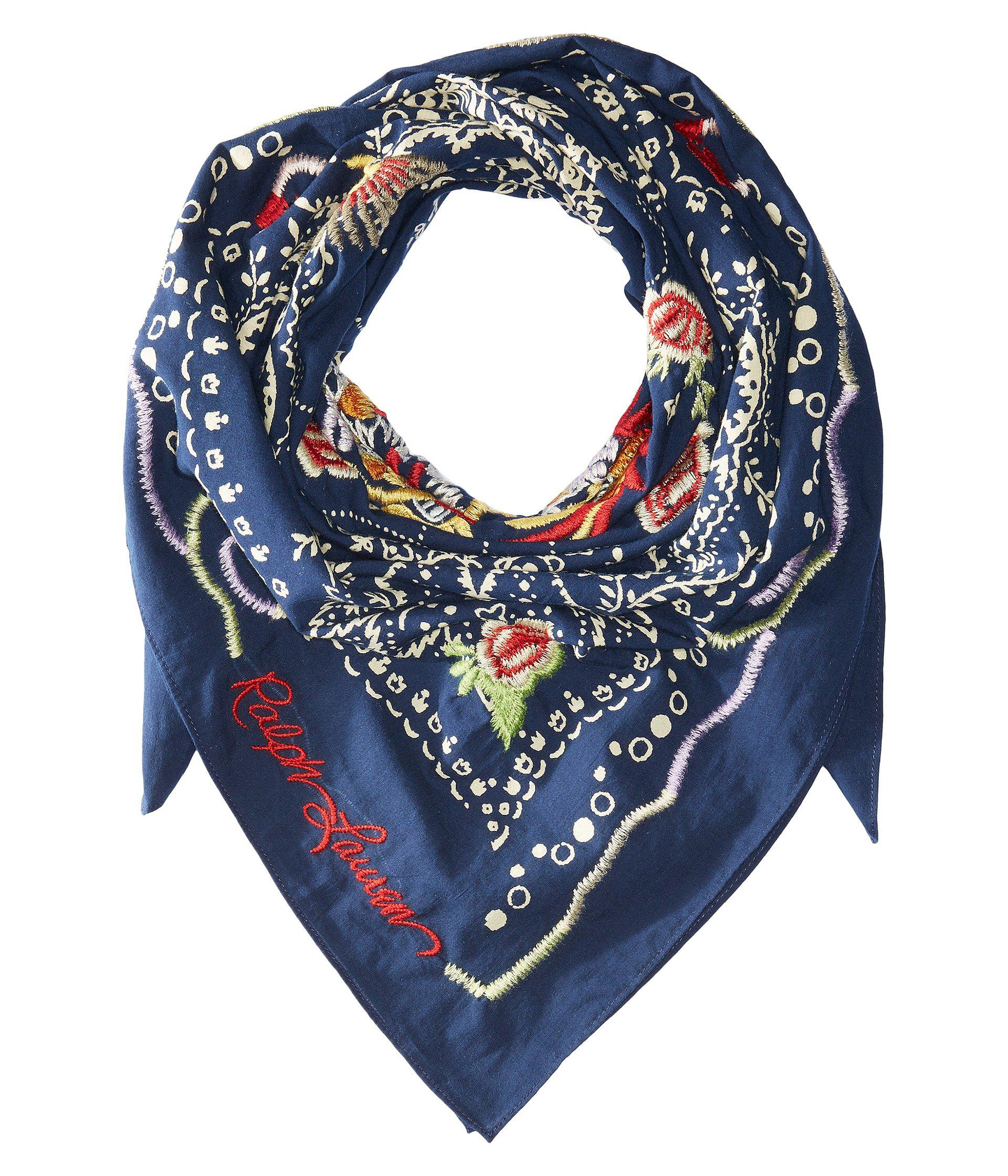 Lyst - Polo Ralph Lauren Dragon Embroidered Cotton Bandana Scarf in Blue