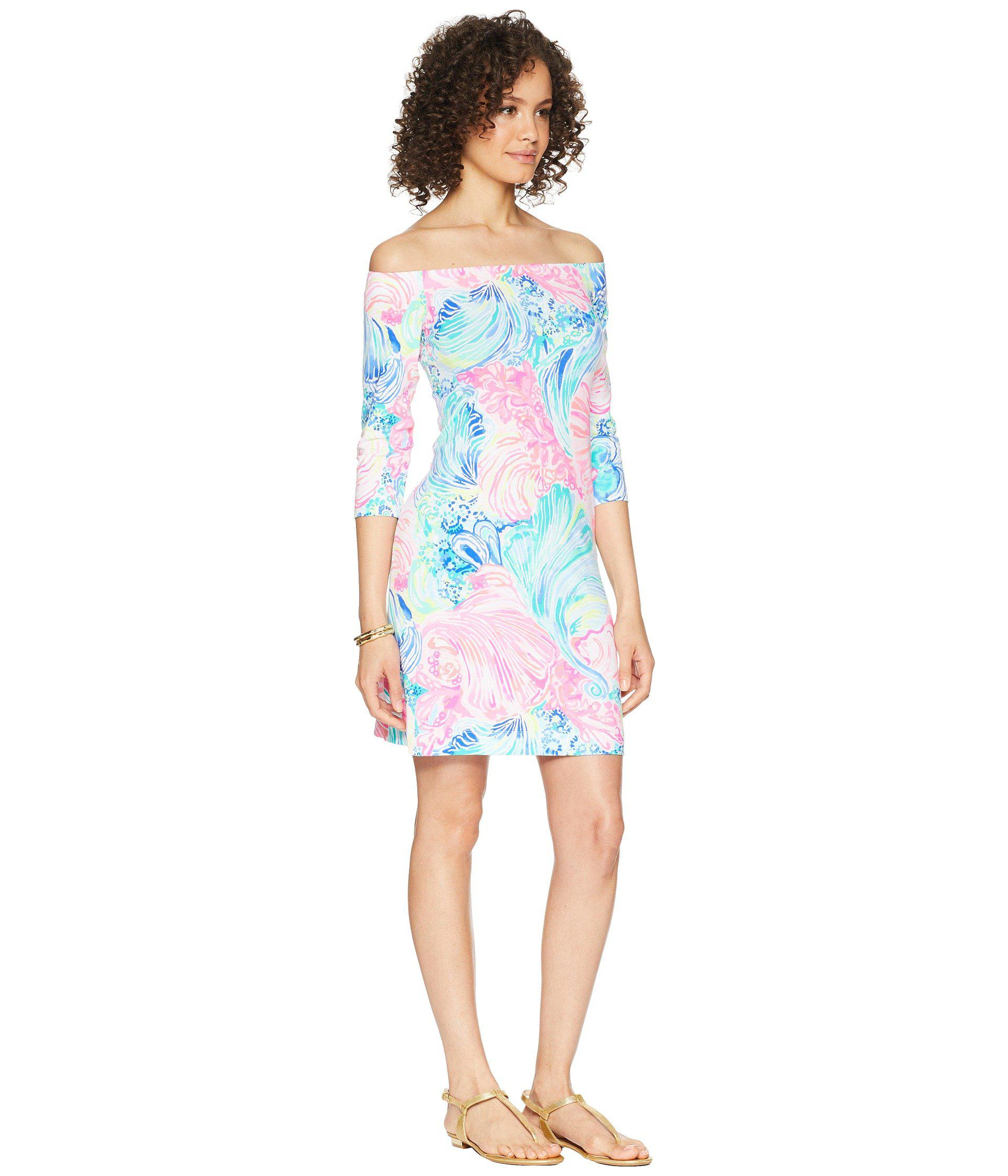 e62bfac10e1f17 Lilly Pulitzer NWT Laurana Off Shoulder Dress Bennet Blue Celestial Seas  $168 Clothing, Shoes & Accessories
