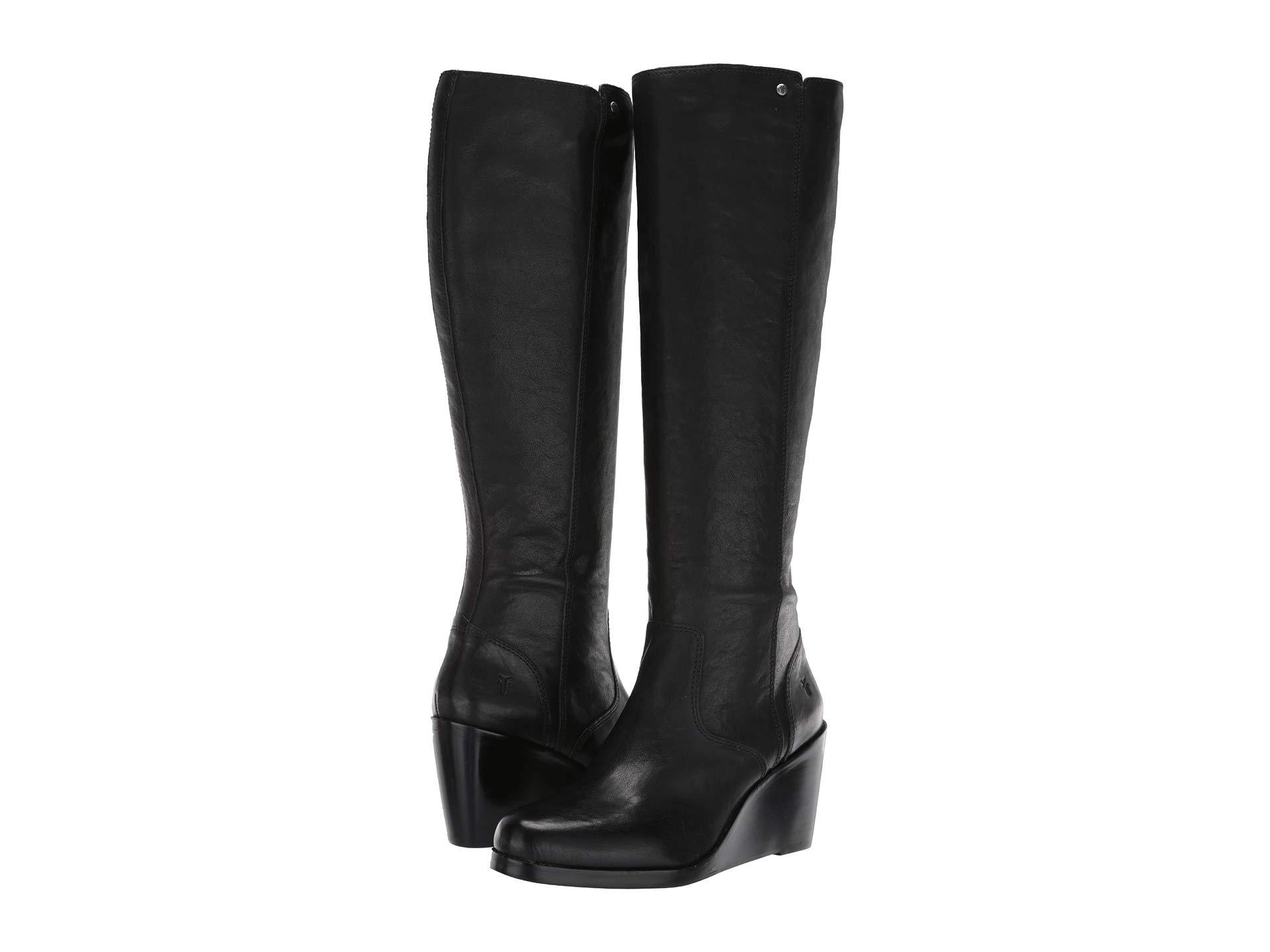2dd6a6bf04cd Lyst - Frye Emma Wedge Tall (black Oiled Pull-up) Women s Boots in Black