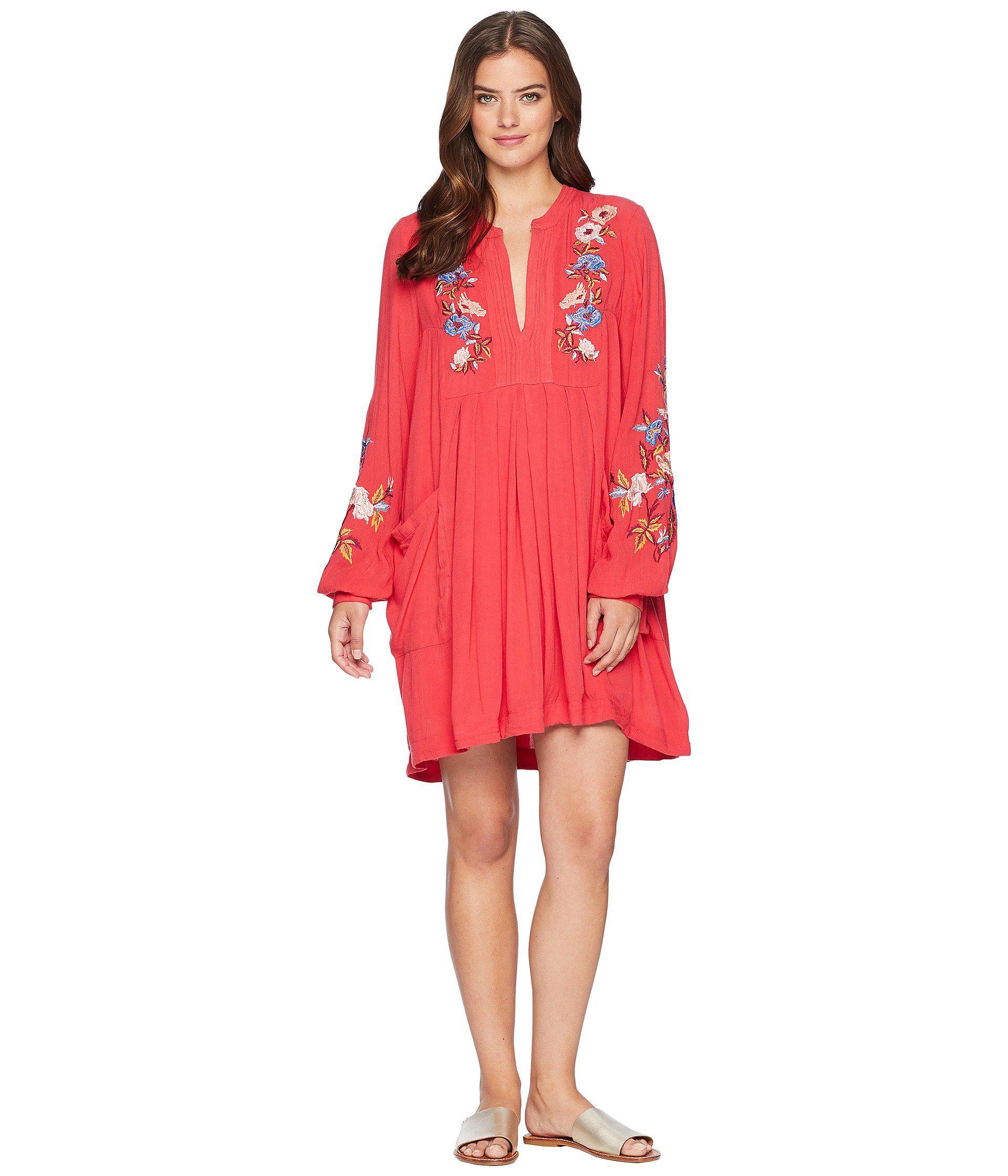 ec1b651ddb Free People Mia Gauze Embroidered Mini (red) Women s Dress in Red - Lyst