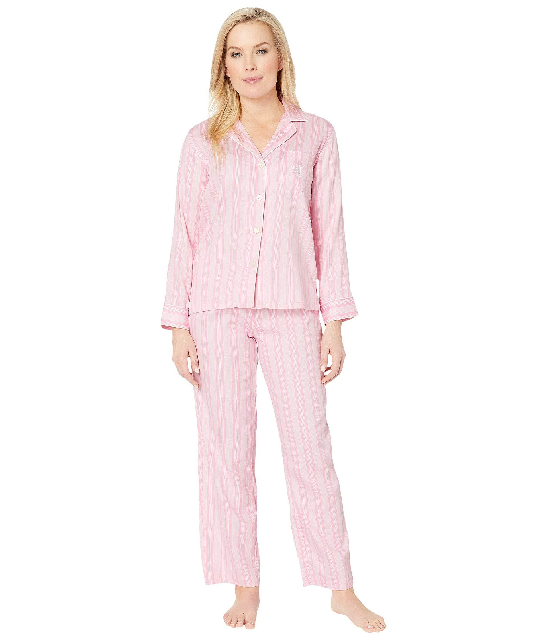 84d123764b5 Lauren by Ralph Lauren. Petite Pointed Notch Collar Pajama Set (pink ...